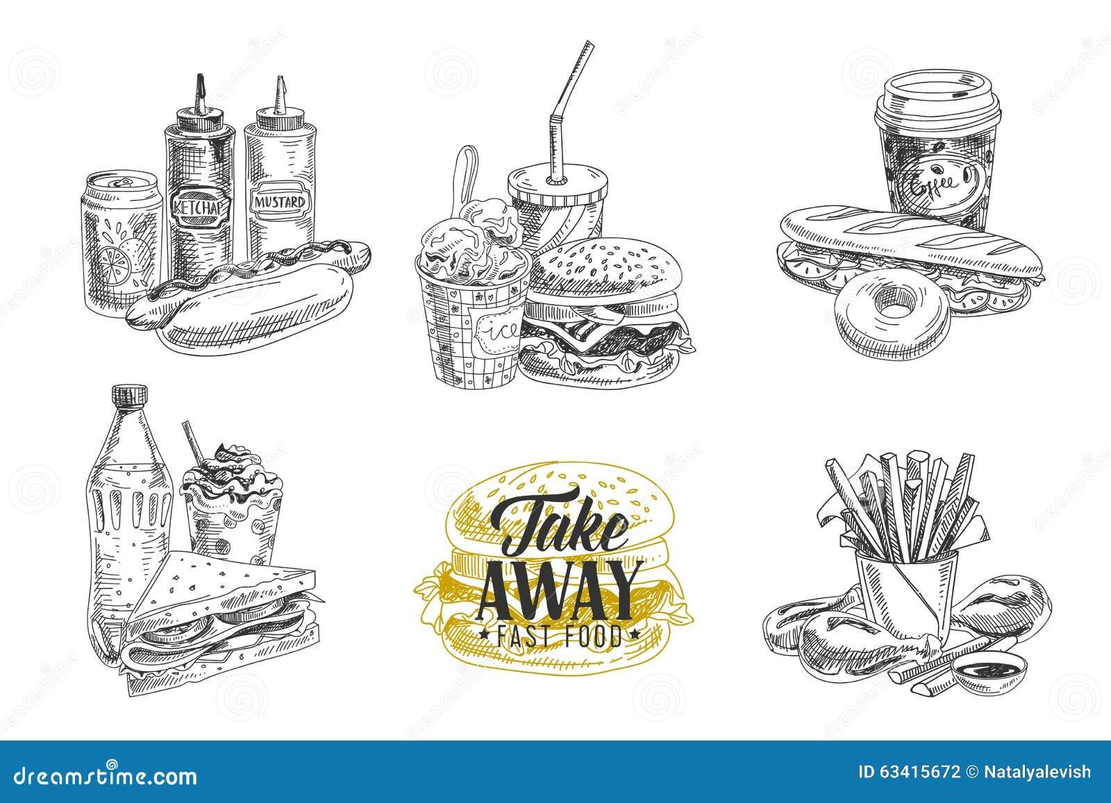 传染媒介套快餐 在剪影的例证