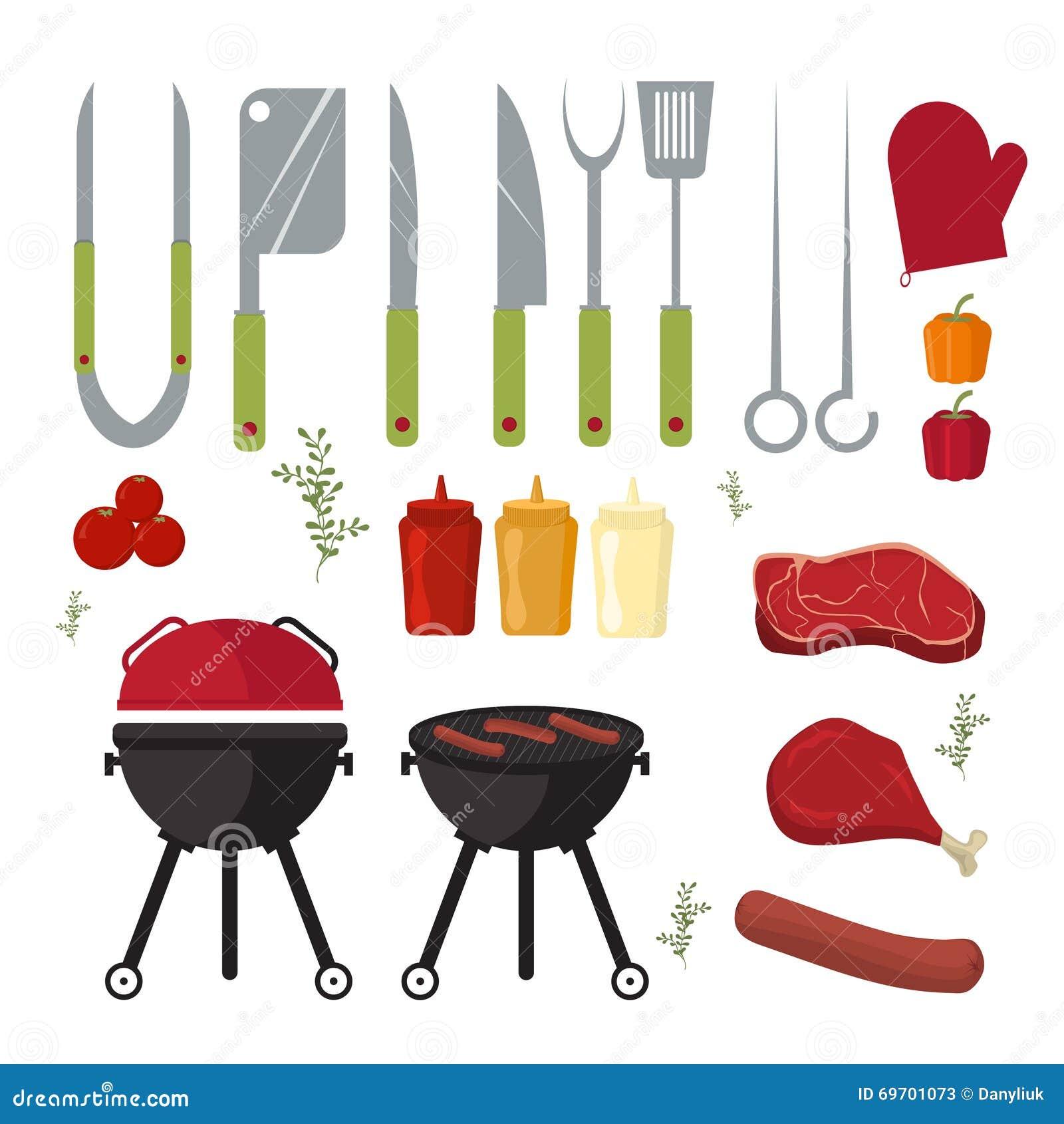 传染媒介套户外烹调晚餐的烤肉和格栅元素
