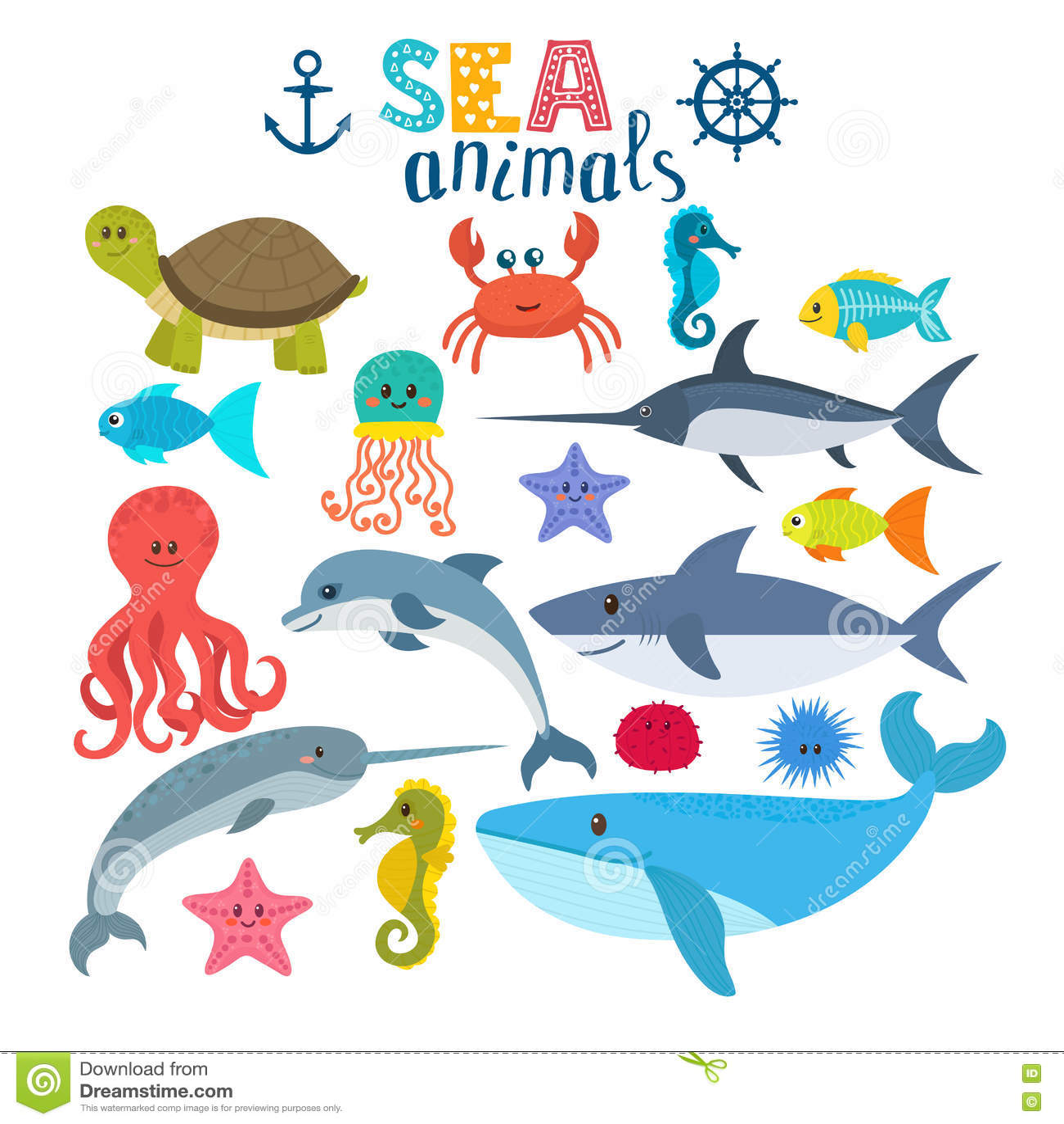 传染媒介套海生物 逗人喜爱动物的动画片