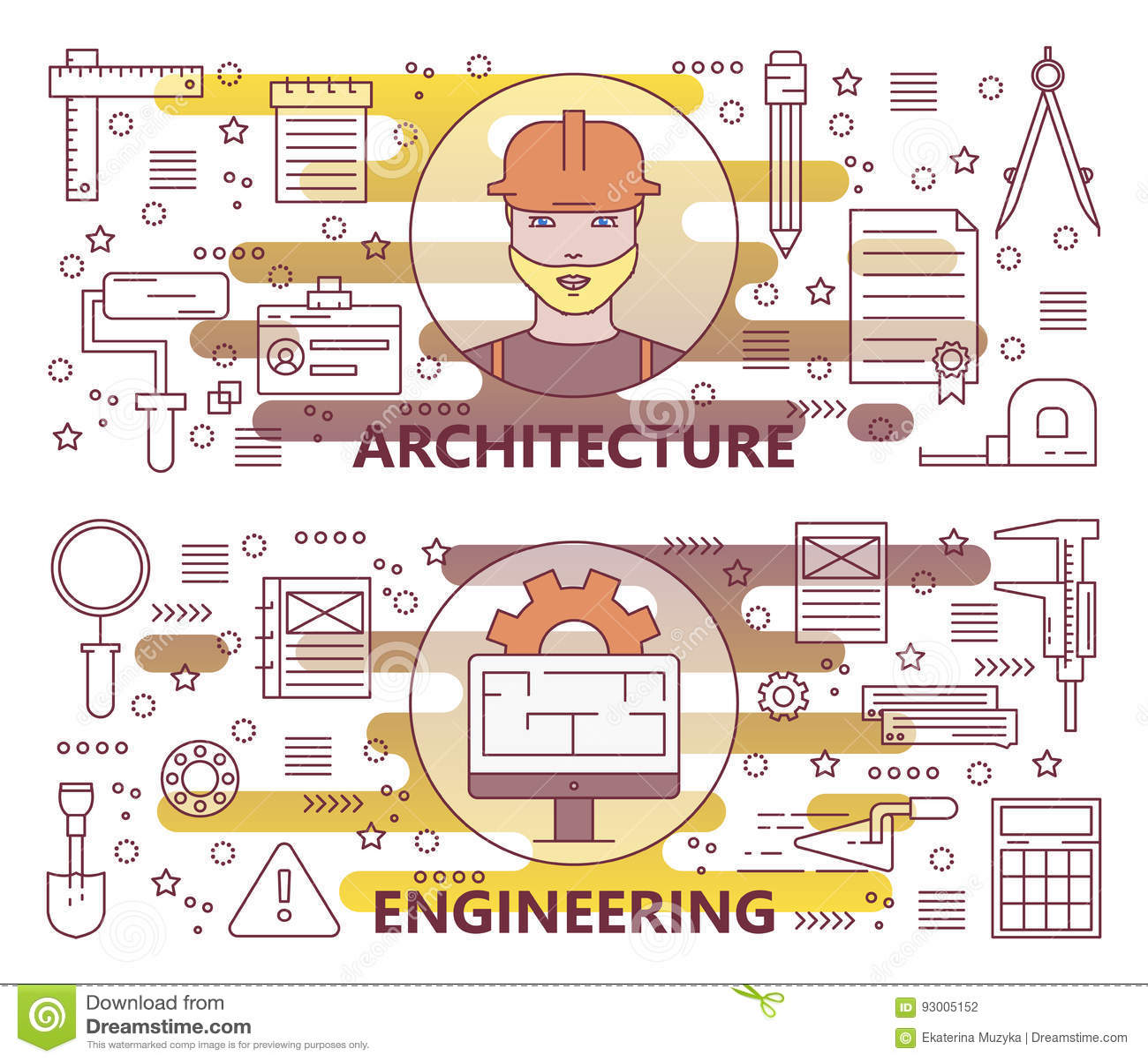 传染媒介套现代稀薄的线建筑学和工程学横幅