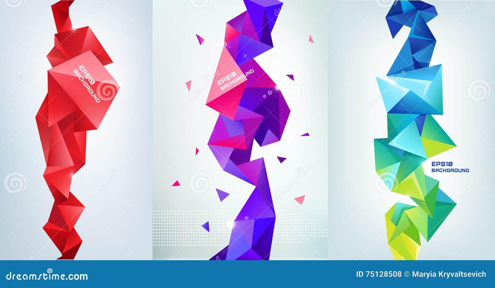 传染媒介套雕琢平面的3d水晶五颜六色的形状,横幅