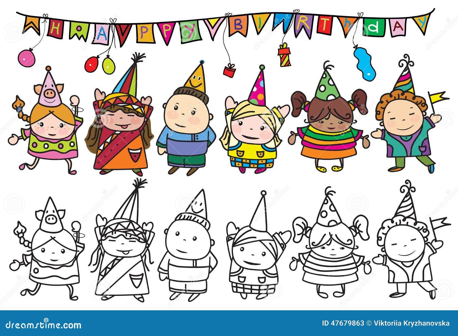 传染媒介小组生日聚会的孩子