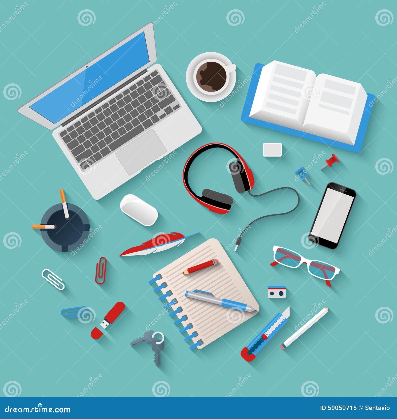 传染媒介平的工作场所大模型:膝上型计算机,电话,笔记薄,办公室