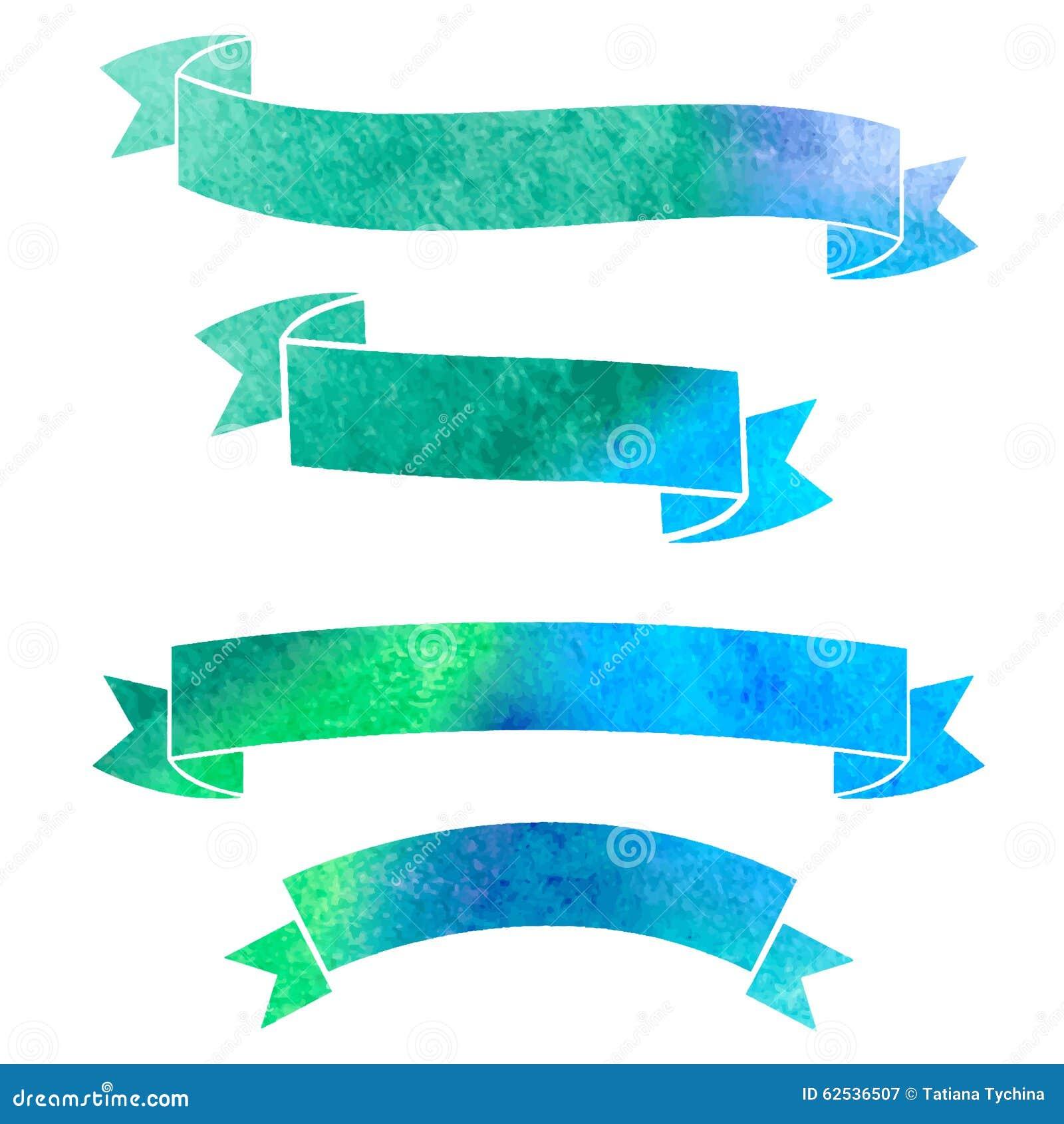 传染媒介水彩五颜六色的丝带横幅