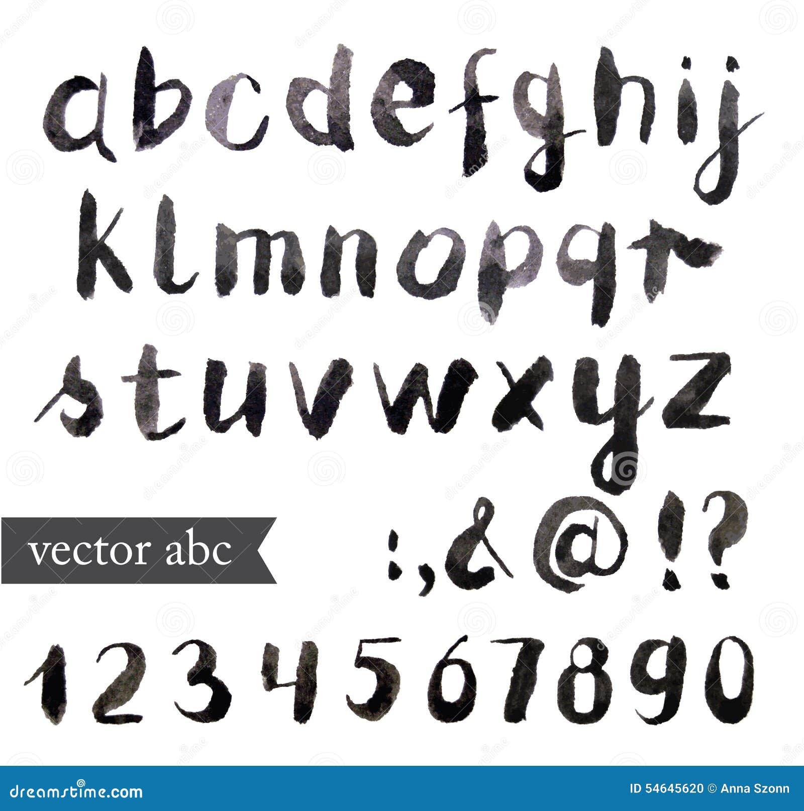 传染媒介水彩字母表