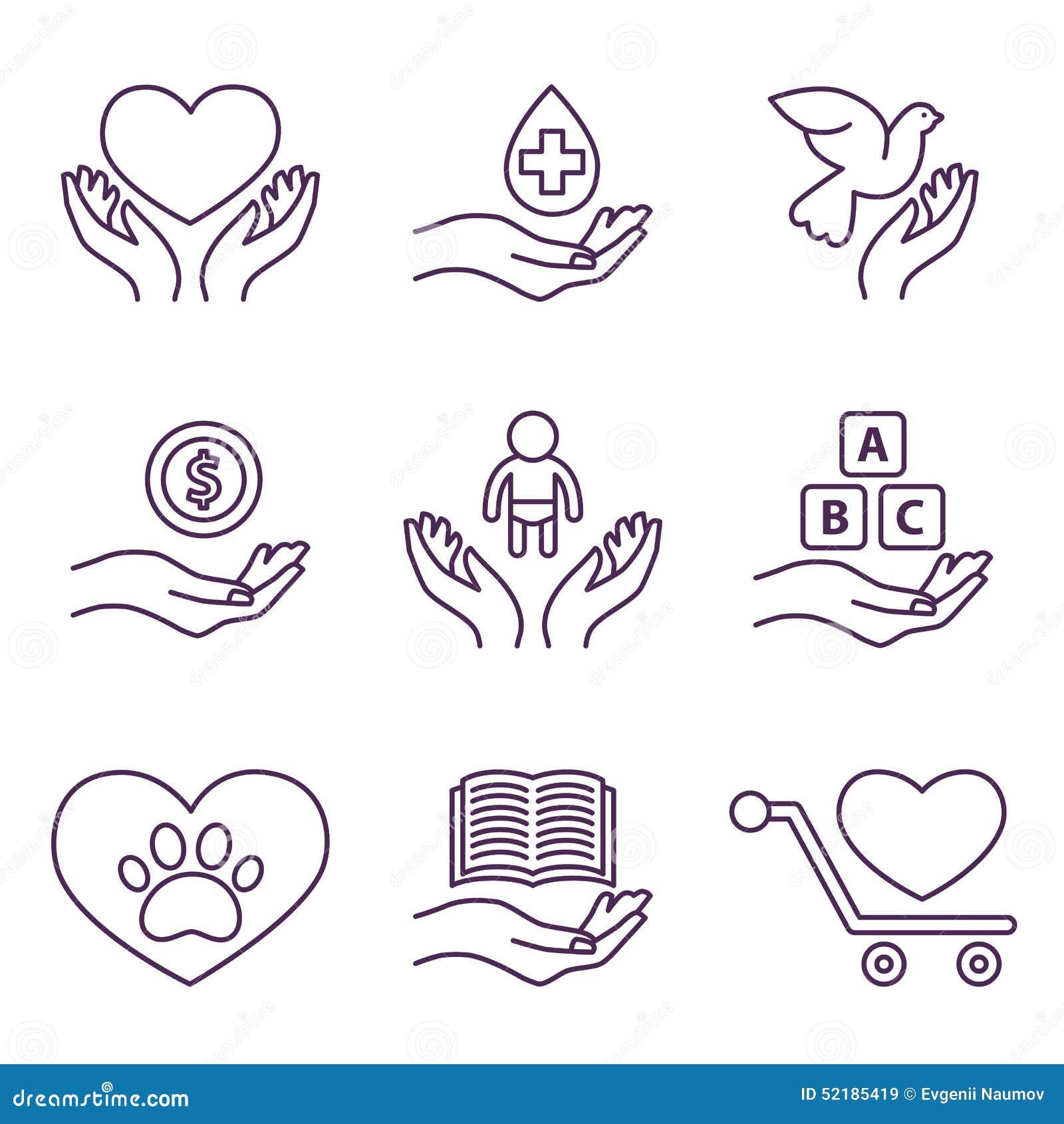 导航慈善线商标和标志志愿者集合.图片