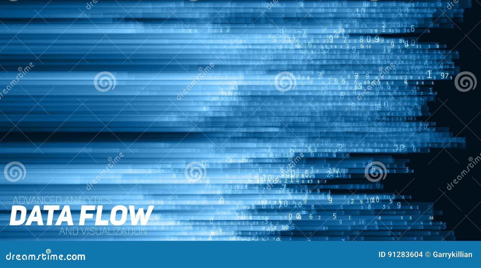 传染媒介抽象大数据形象化 数据蓝色流程当数字串 信息代码表示法