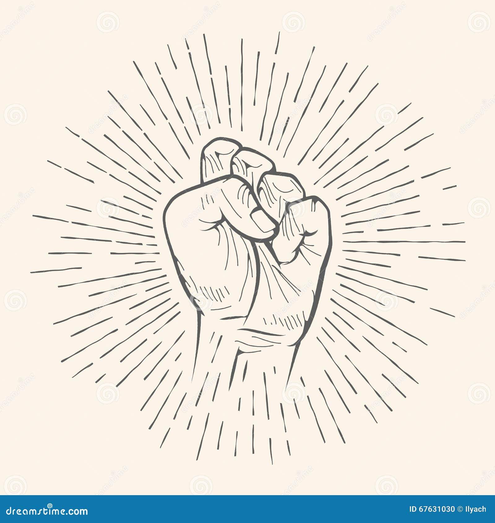传染媒介拳头姿态 概略的微笑标志手拉的剪影图片