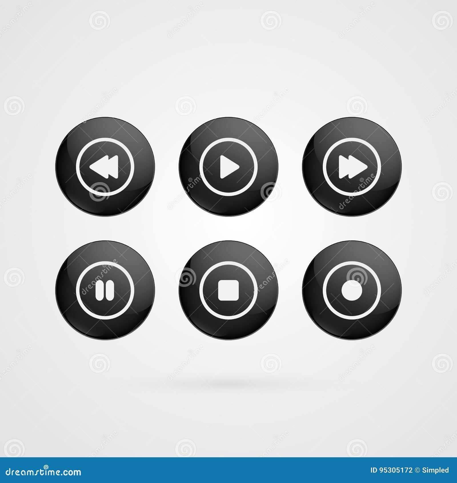 传染媒介按标志 黑白光滑的戏剧,中止,倒带,向前,停留,被隔绝的记录标志 例证象