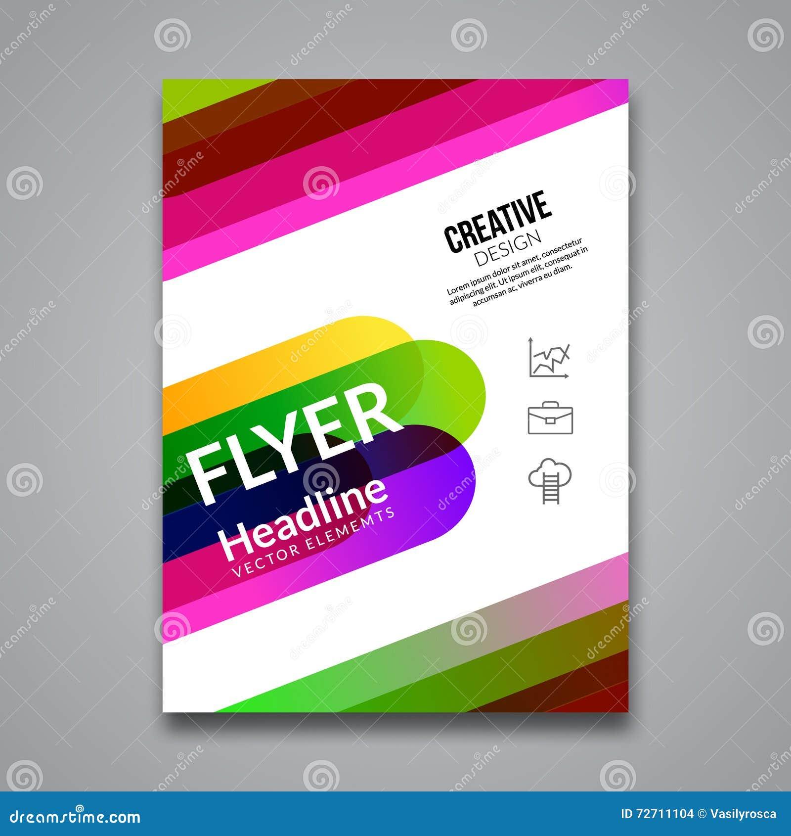 传染媒介海报飞行物模板 企业飞行物、海报和招贴的抽象五颜六色的背景 小册子tamplate