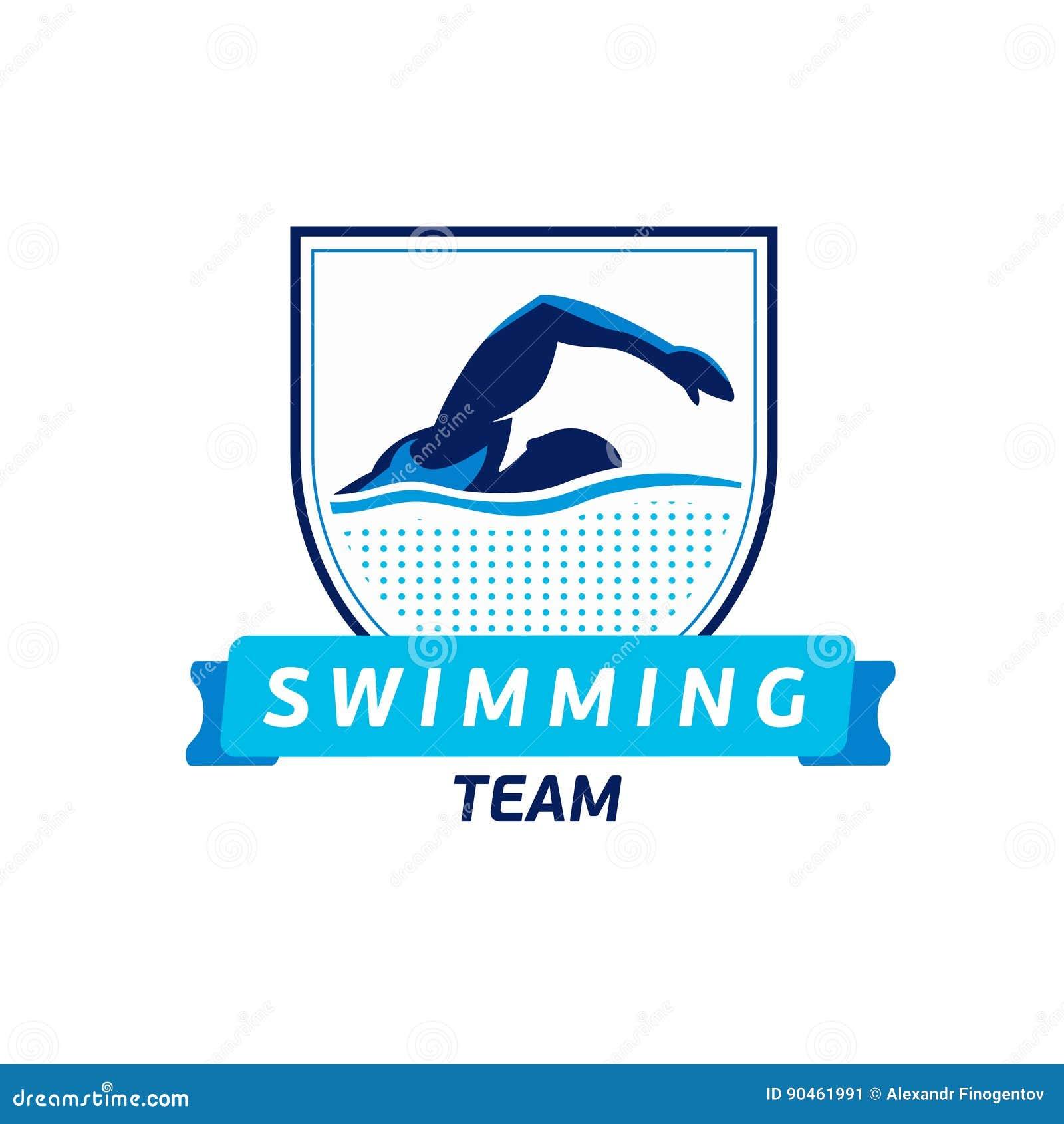 传染媒介游泳队商标 游泳者剪影在水中 创造性的徽章 三项全能概念 平的设计
