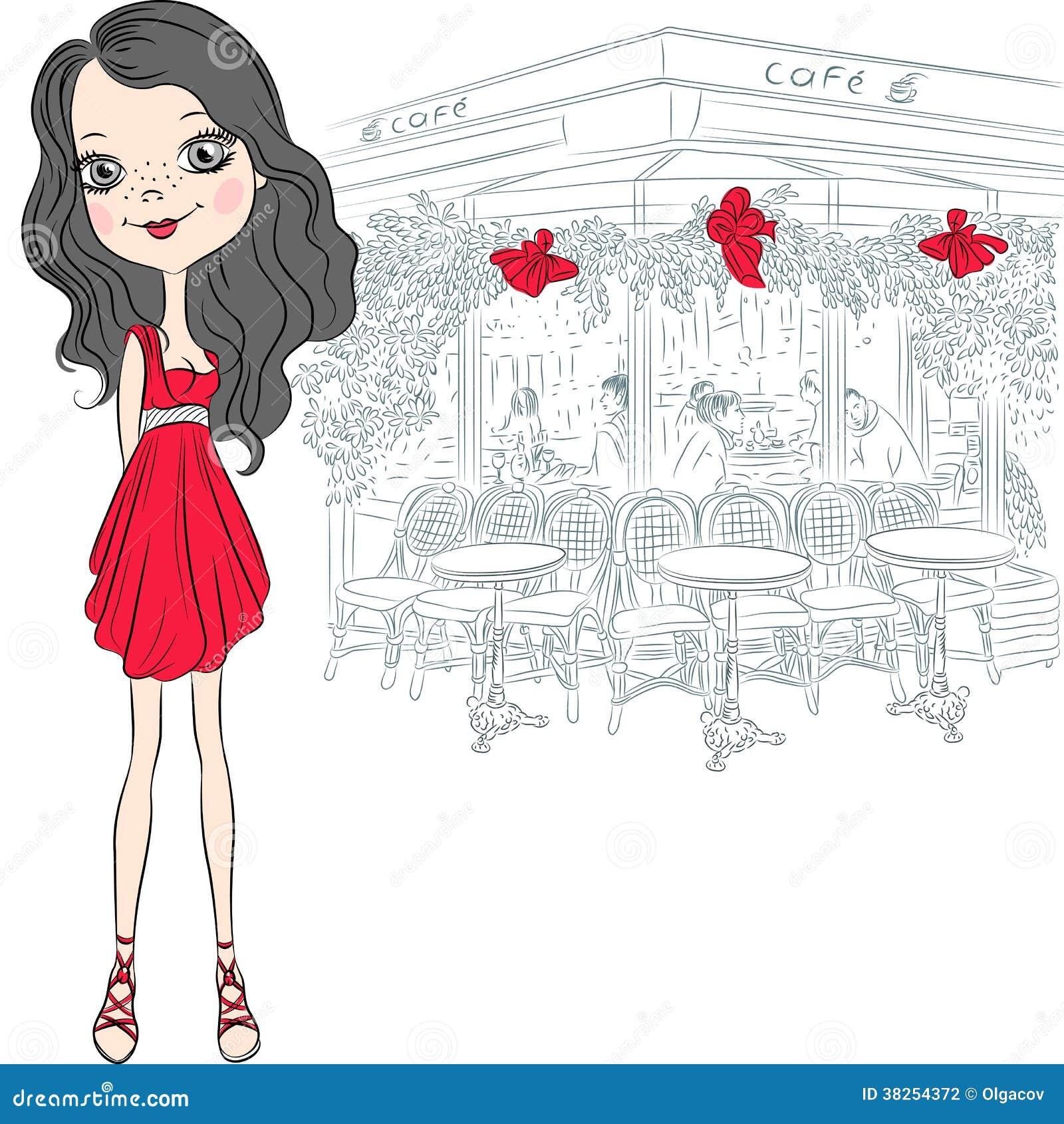 传染媒介美丽的时尚女孩在巴黎