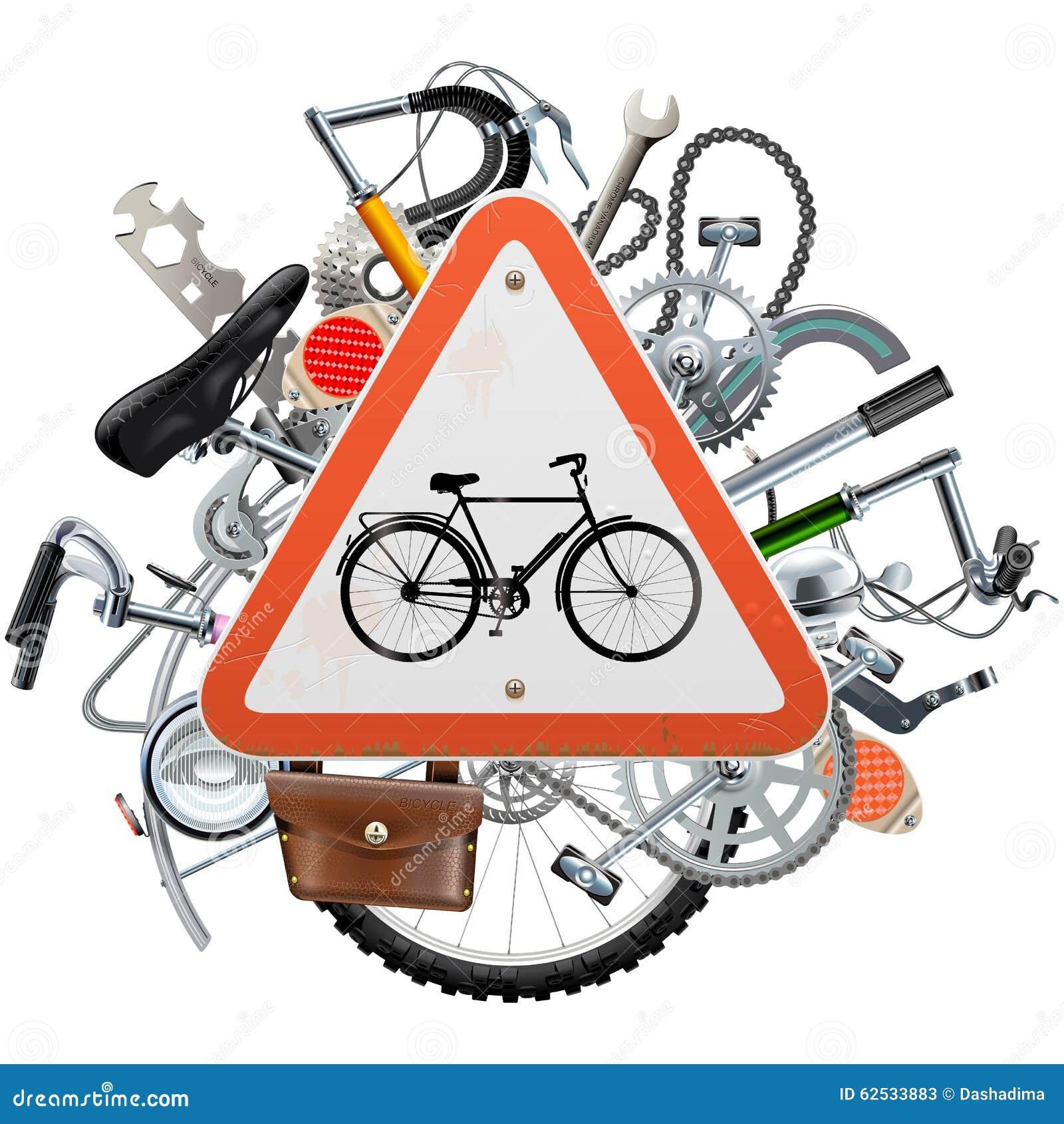 传染媒介自行车饶恕与三角标志的概念