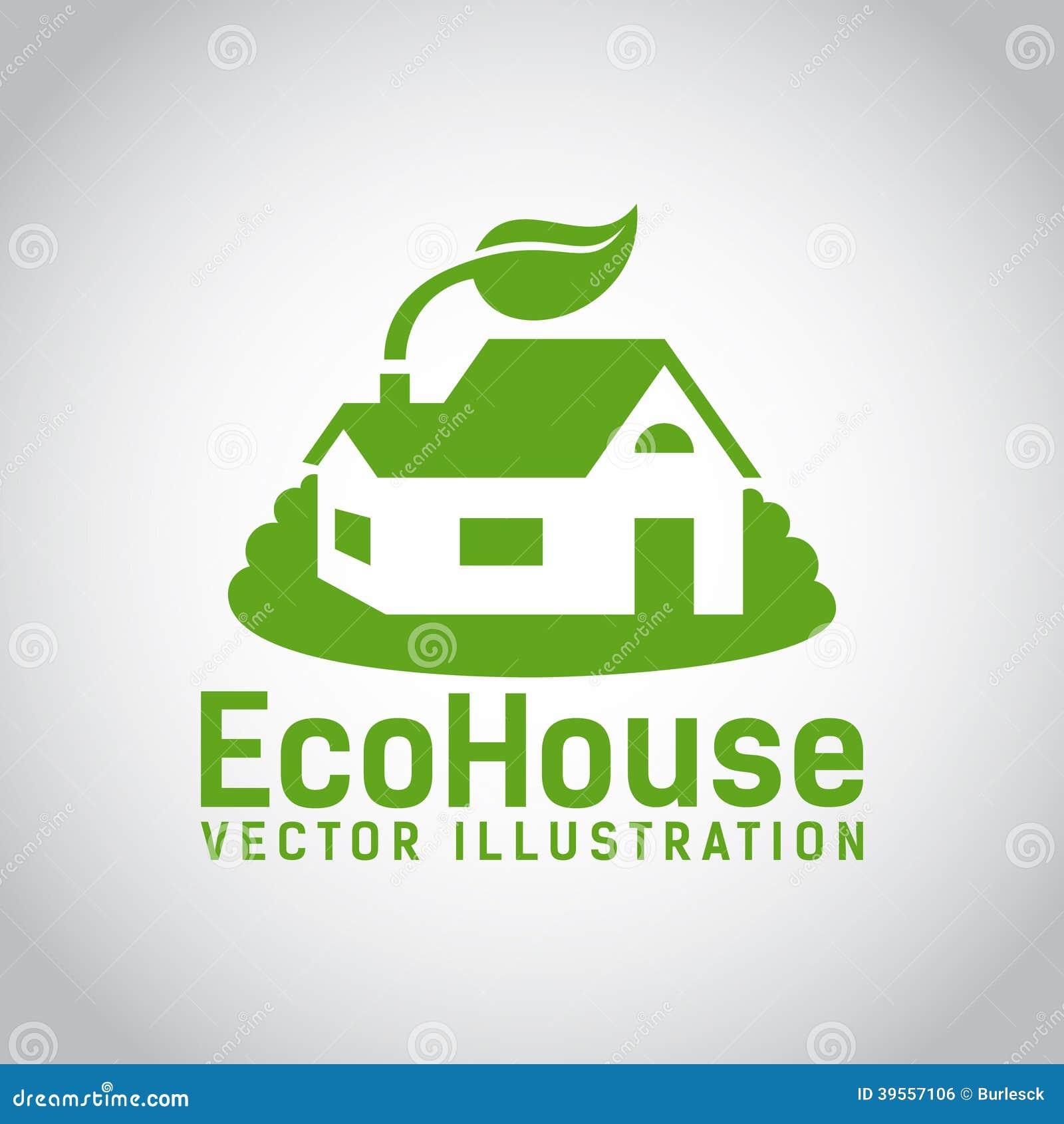 传染媒介绿色eco房子象