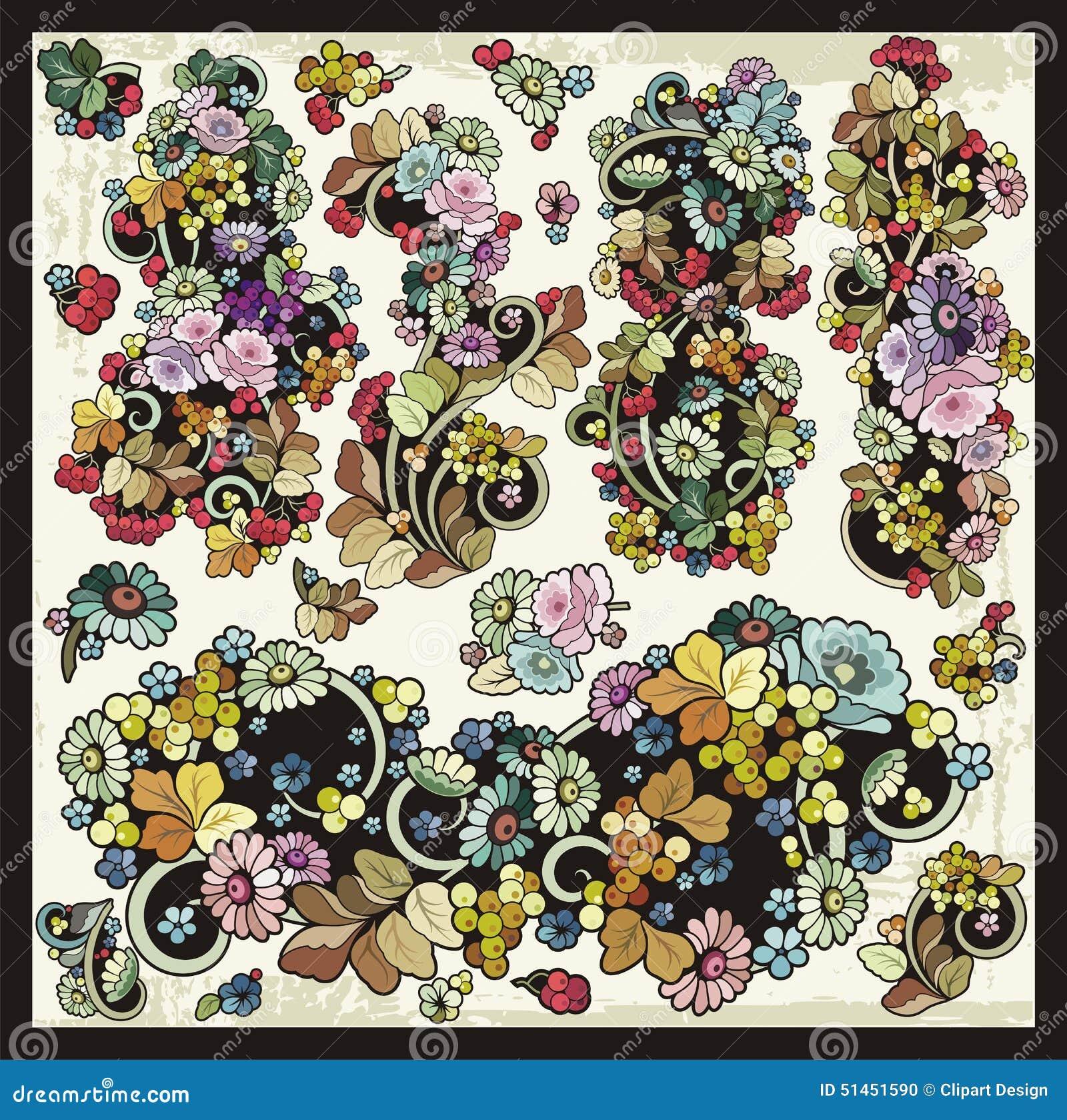 Download 传染媒介花卉华丽装饰Clipart集合 向量例证. 插画 包括有 例证, grunge, ,并且, 设计 - 51451590