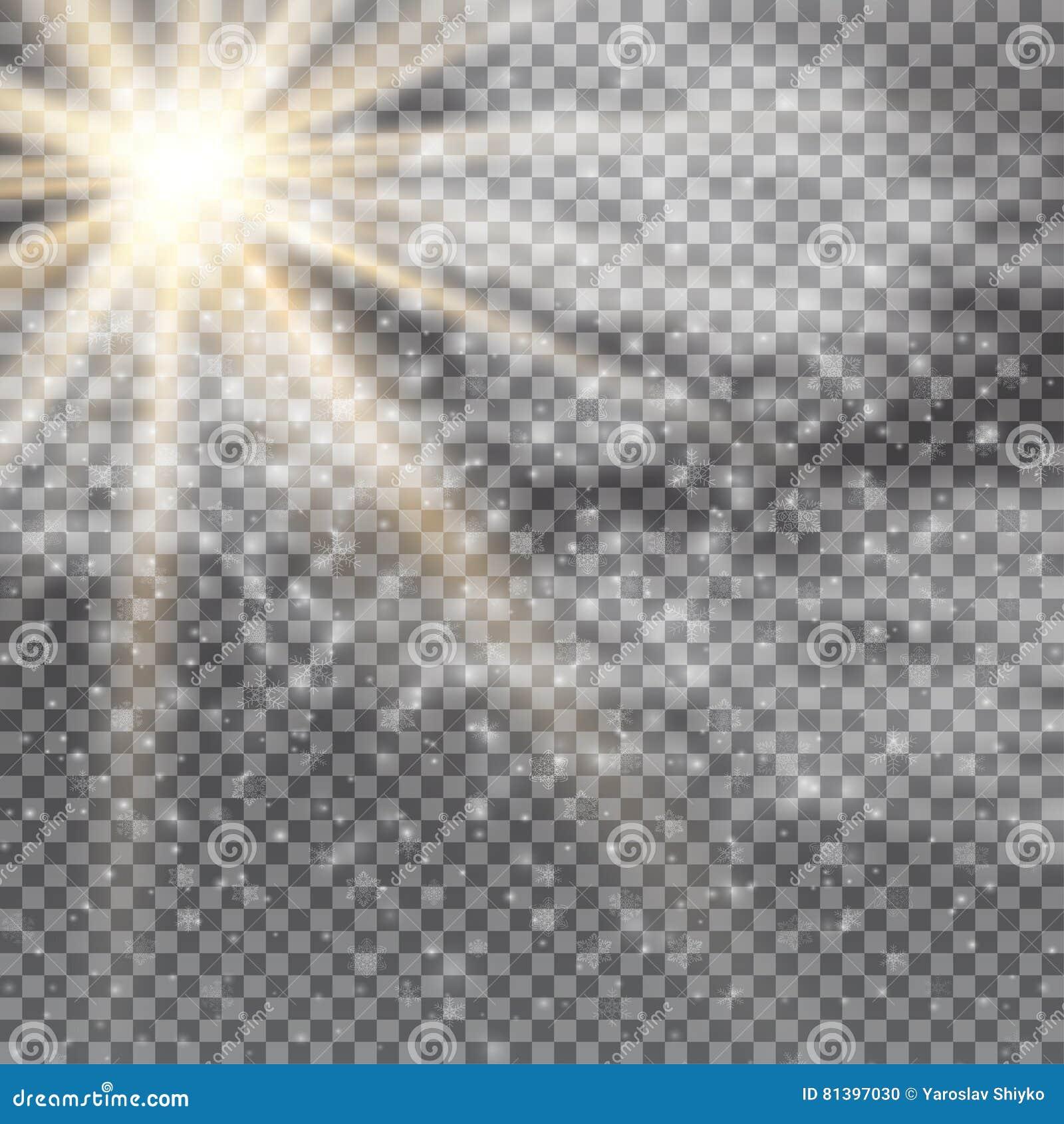 传染媒介透明阳光特别透镜火光光线影响 与光芒、雪、云彩和聚光灯的太阳闪光