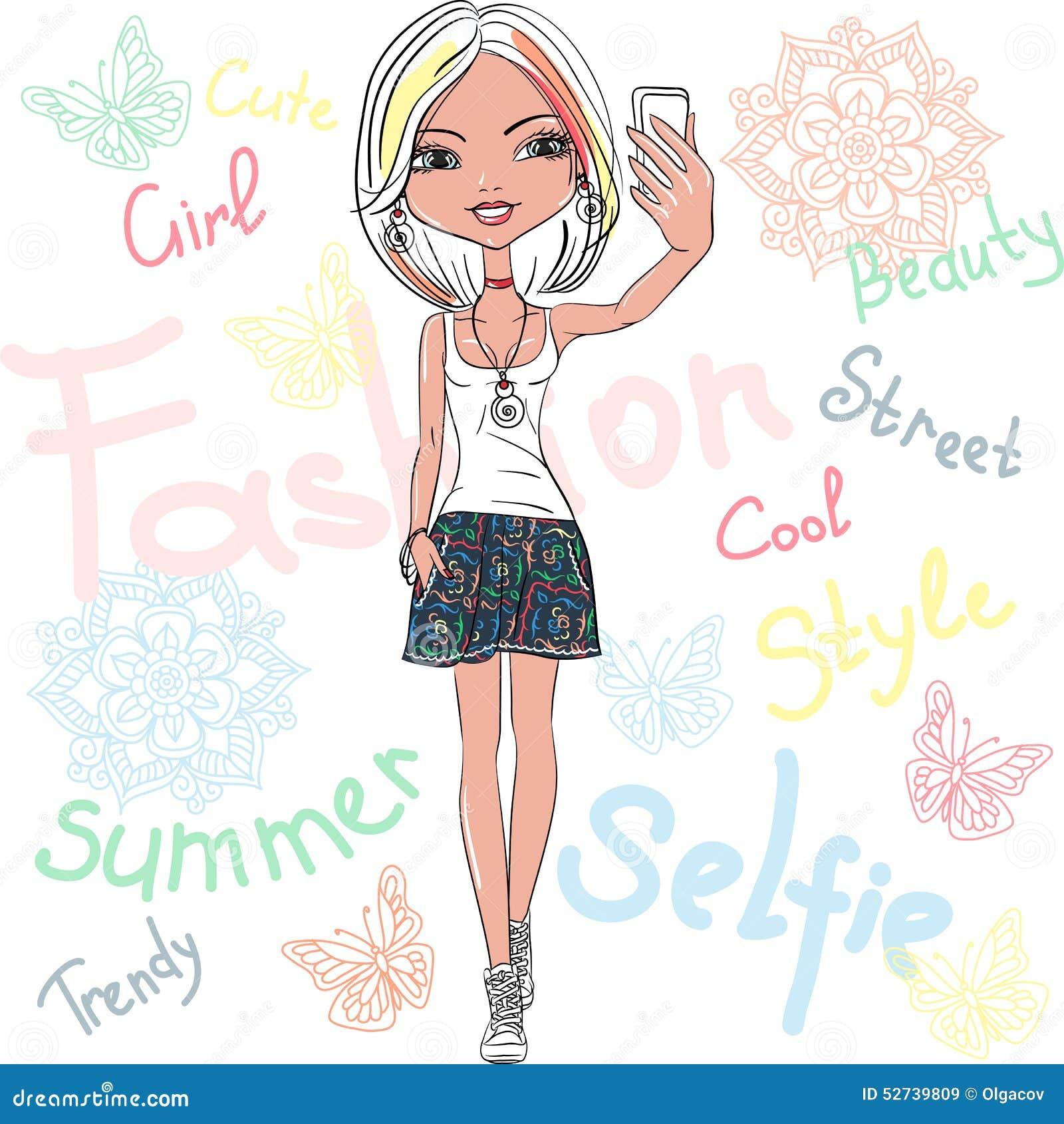 传染媒介逗人喜爱的女孩做selfie