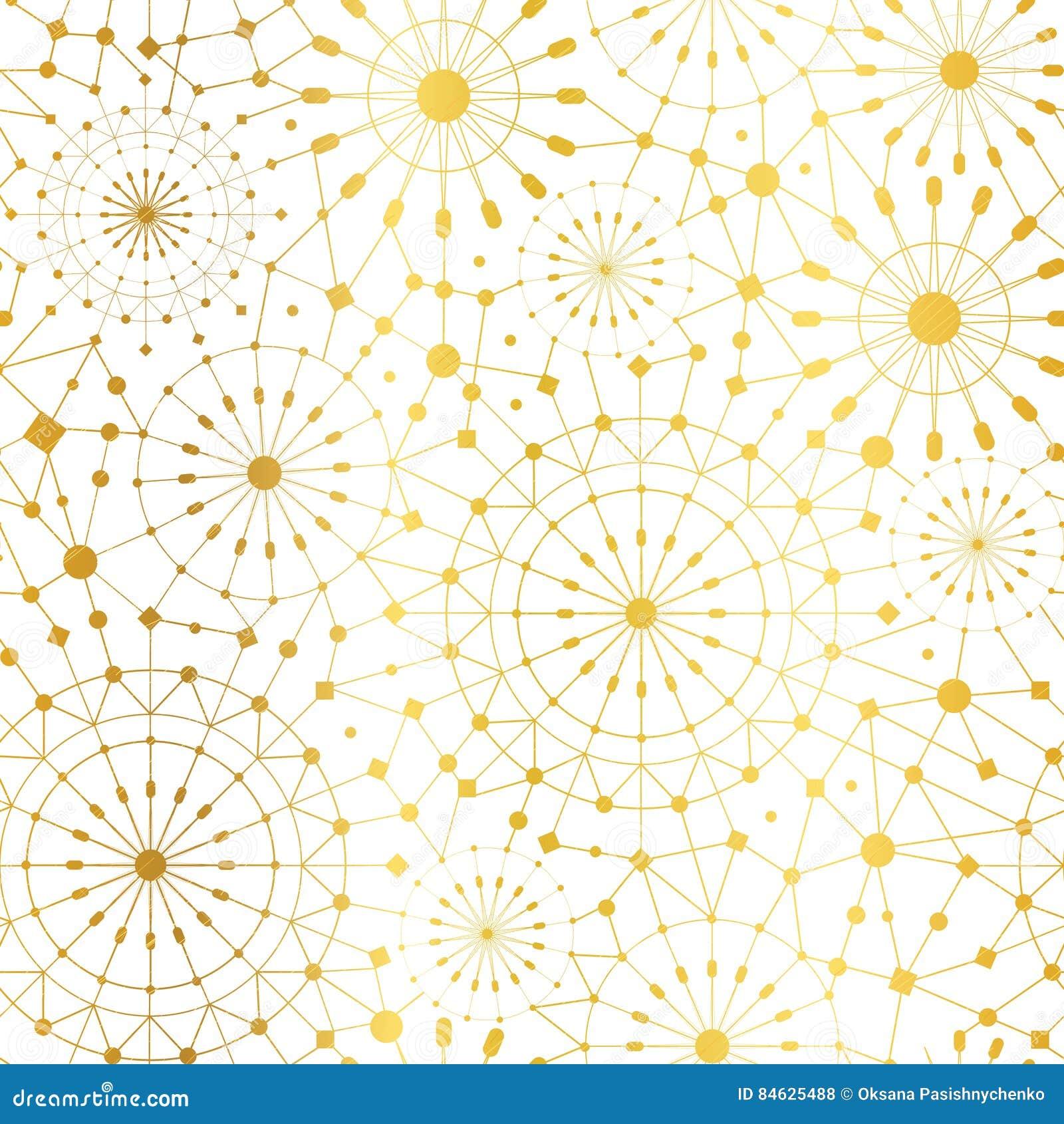 传染媒介金黄白色抽象网络金属圈子无缝的样式背景 伟大为典雅的金子纹理织品