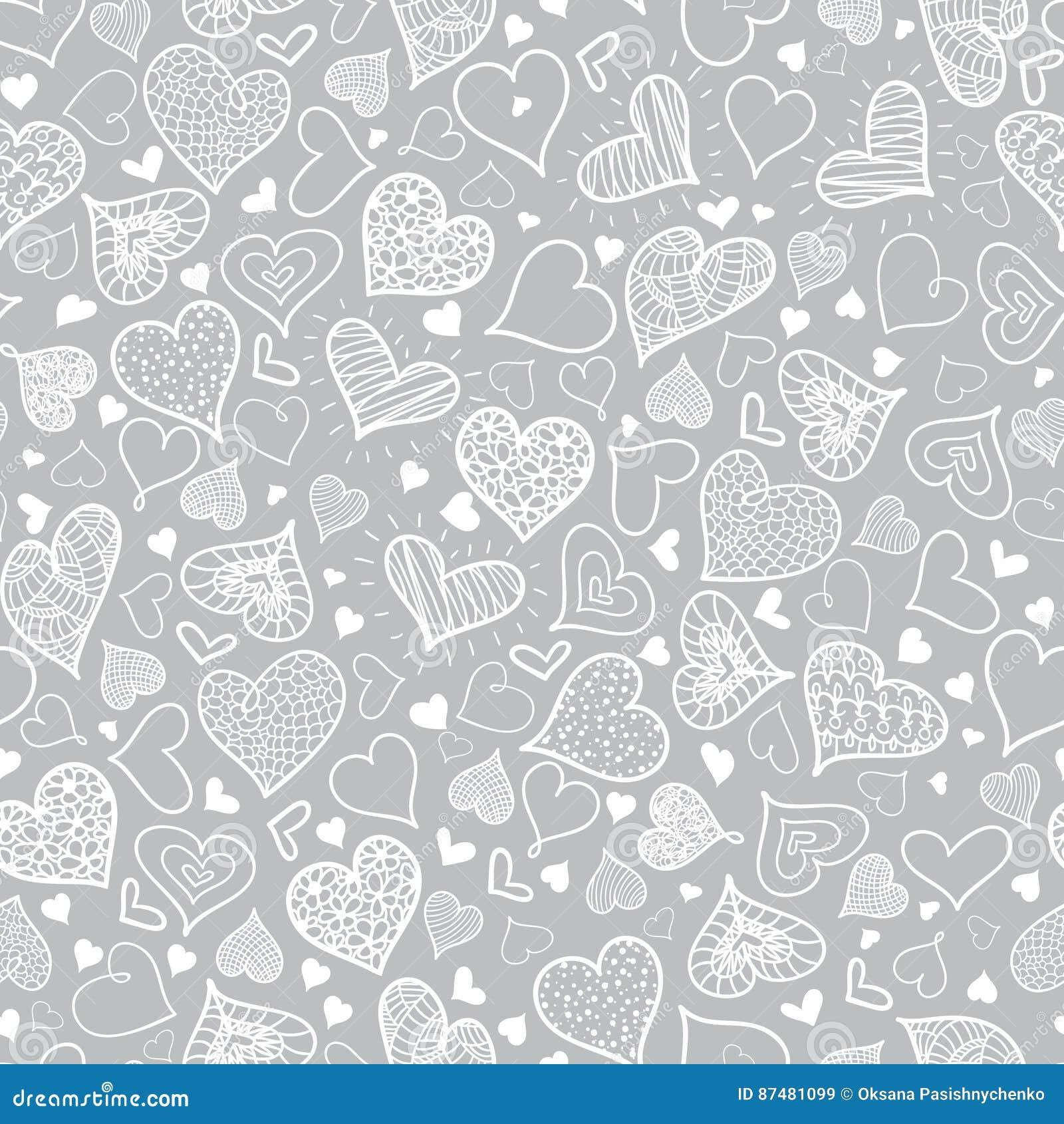 传染媒介银灰色乱画心脏无缝的样式设计完善对华伦泰s天卡片,织品, scrapbooking