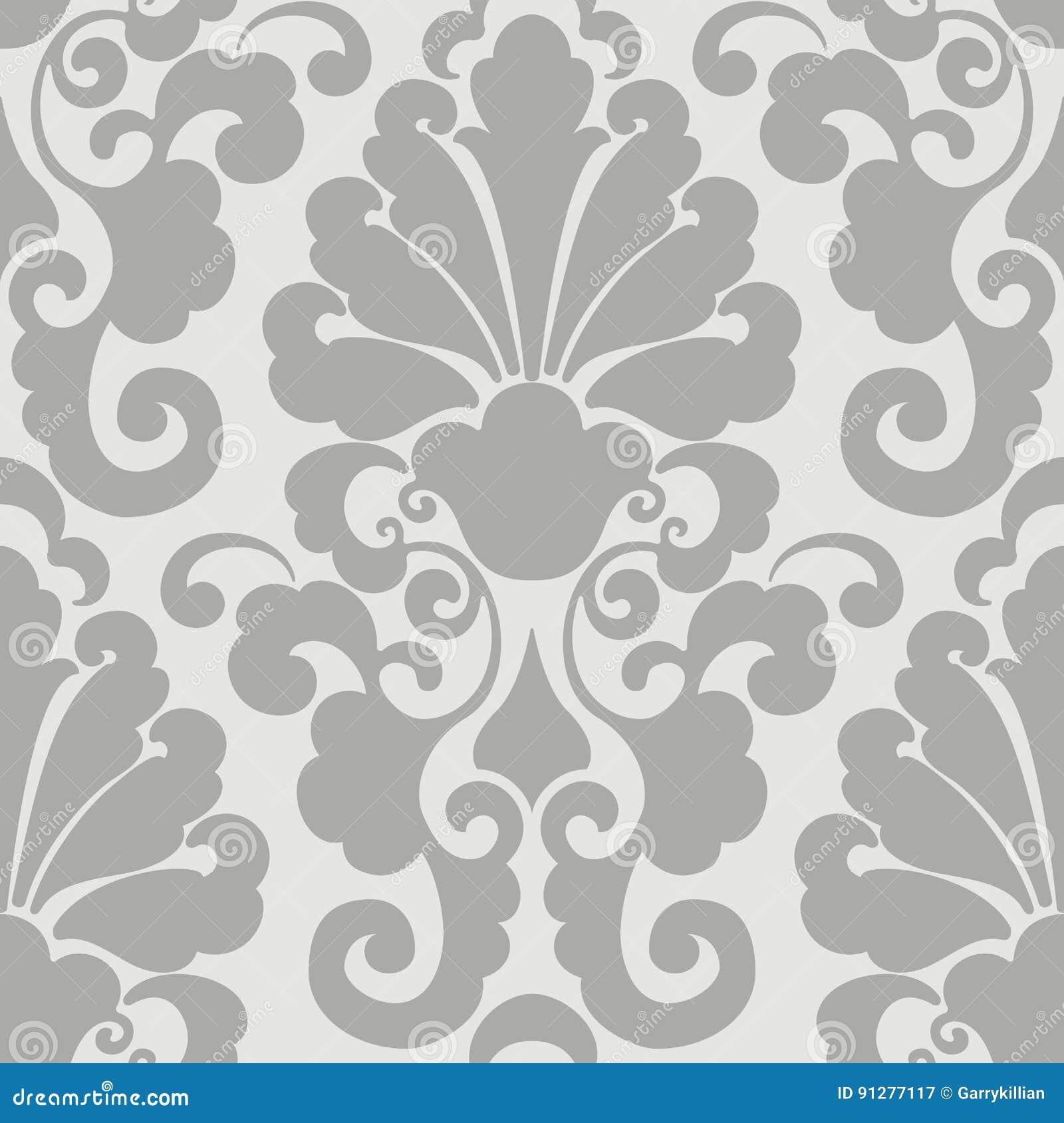 传染媒介锦缎无缝的样式元素 古典豪华古板的锦缎装饰品,皇家维多利亚女王时代的无缝的纹理