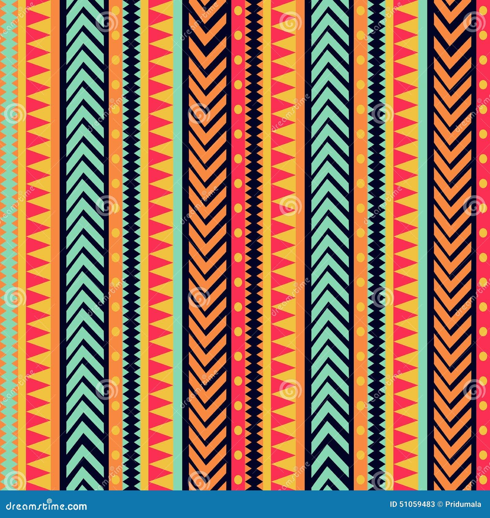 传染媒介镶边样式 部族纹理,五颜六色的装饰品