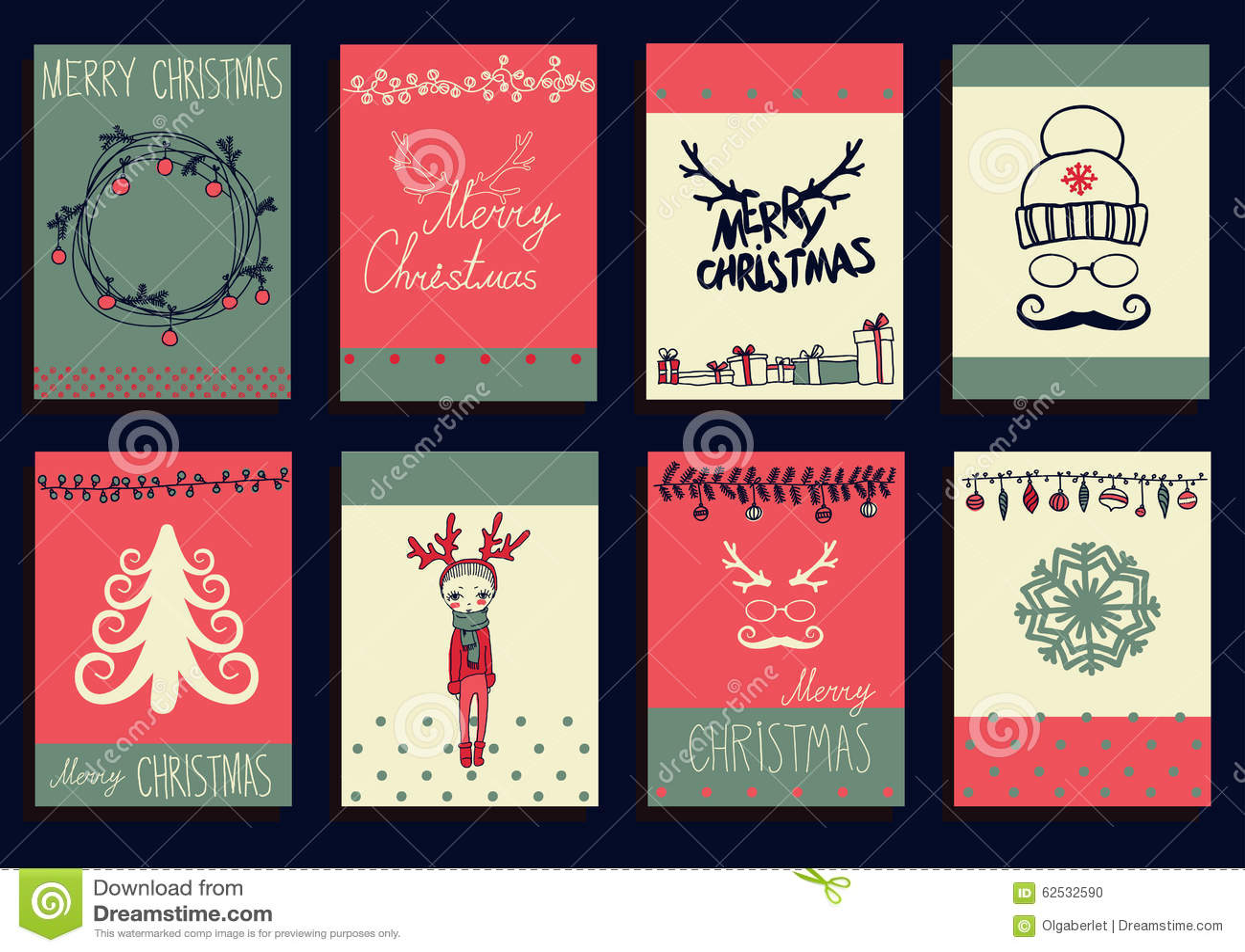 传染媒介集合圣诞节书法设计元素