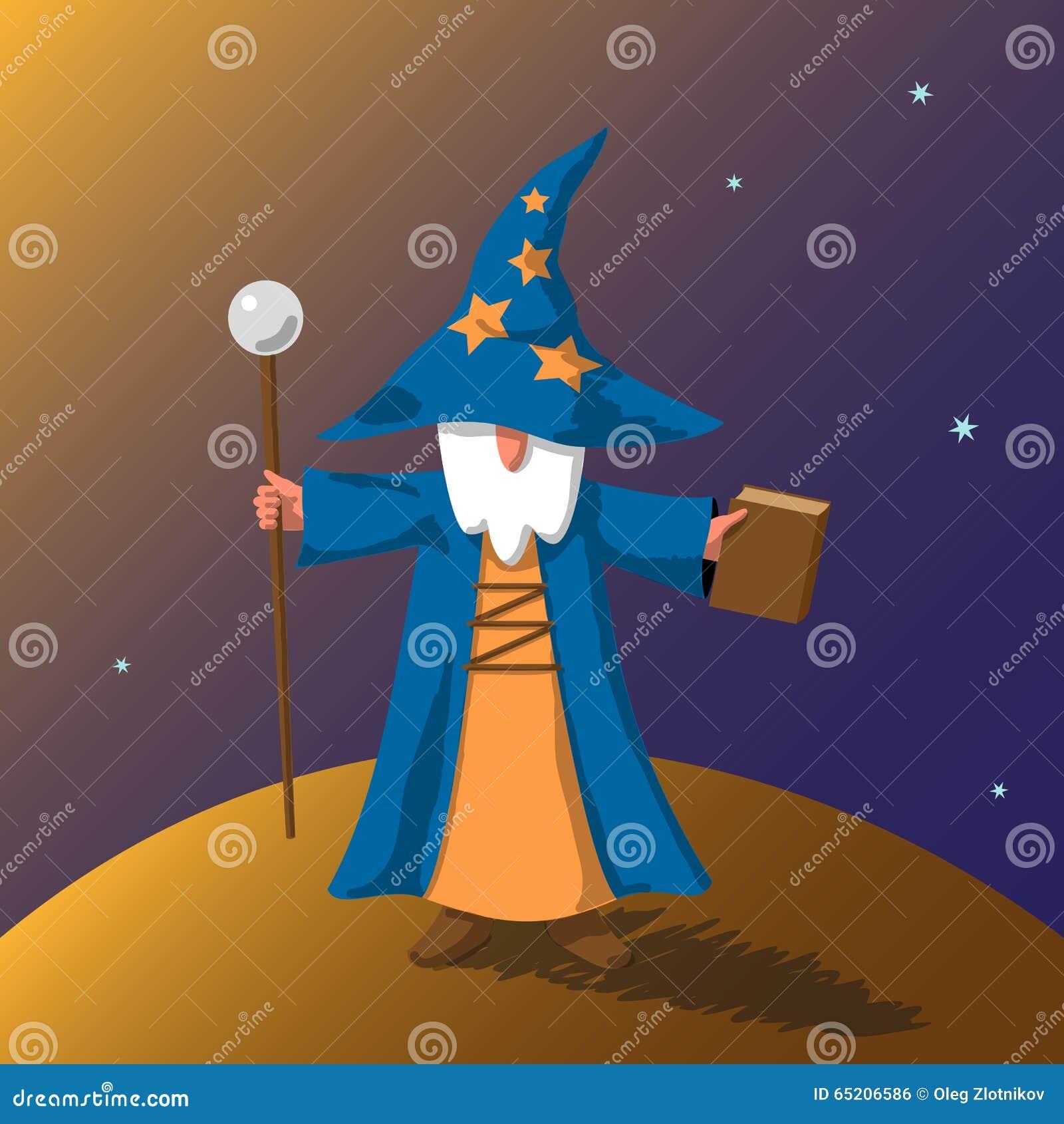 传染媒介EPS10例证动画片老巫术师