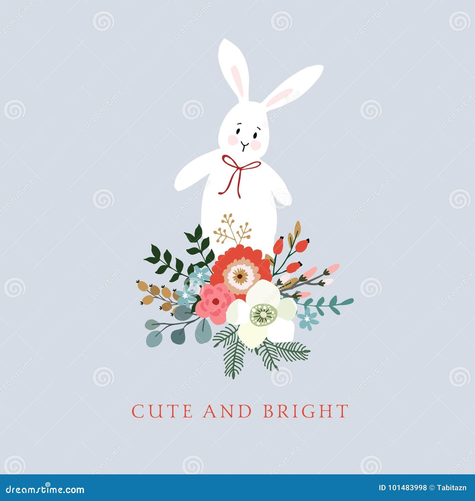 传统圣诞节,新年贺卡,邀请 逗人喜爱的兔子,兔宝宝的手拉的例证 百花香由b制成