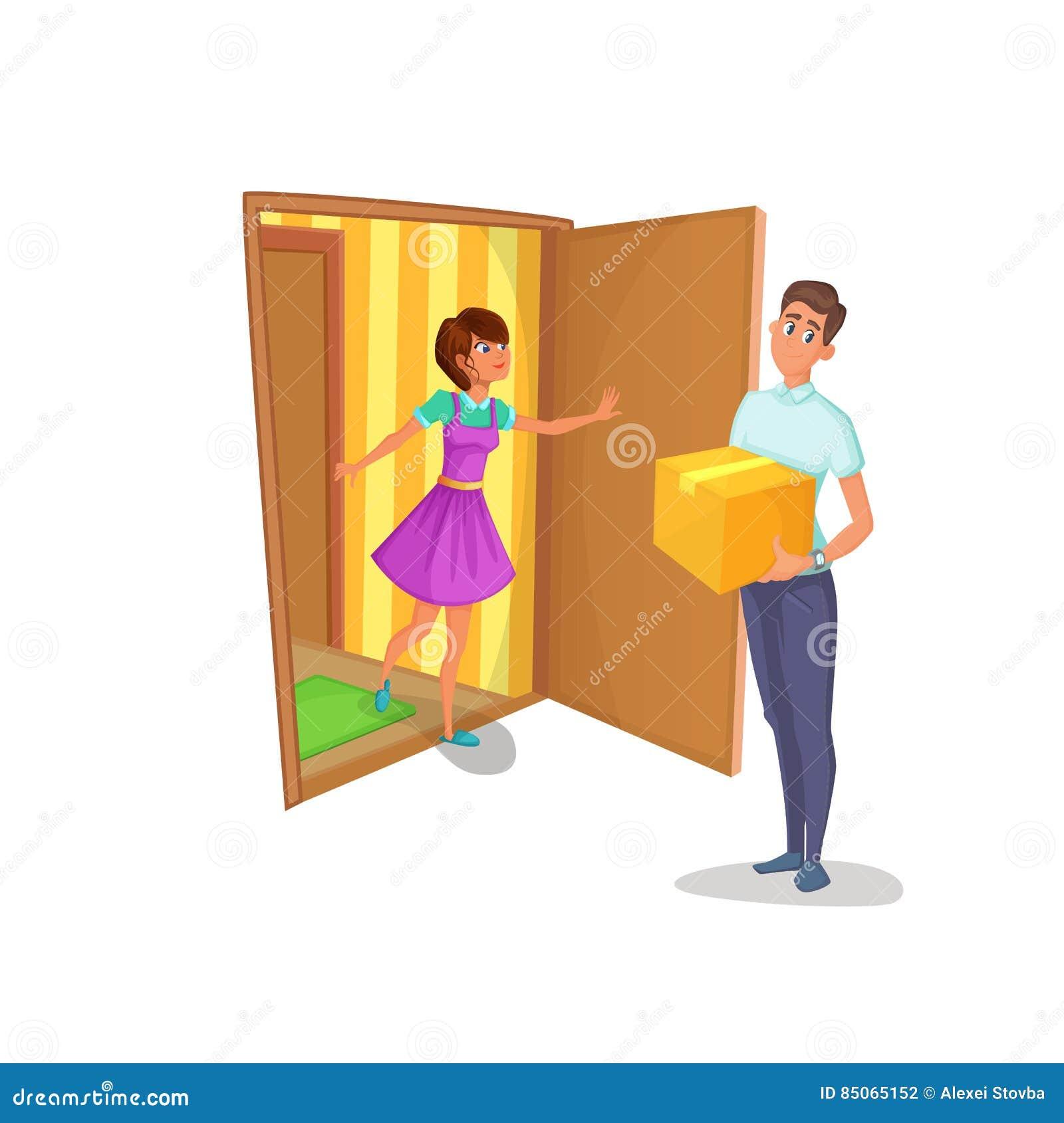 传讯者给妇女在家带来了包裹 主妇打开公寓的门并且遇见送货员