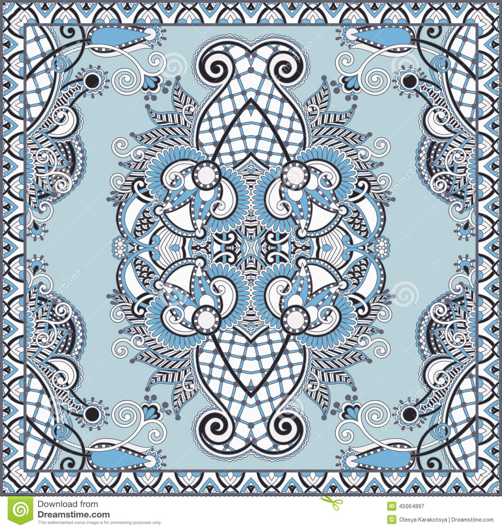传统装饰花卉佩兹利方巾 您在地毯,披肩,枕头,坐垫设计能使用这个样式图片