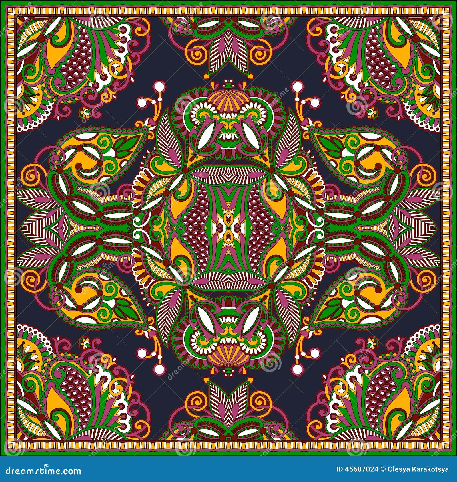 传统装饰花卉佩兹利方巾 您在地毯,披肩,枕头,坐垫设计能使用这个样图片