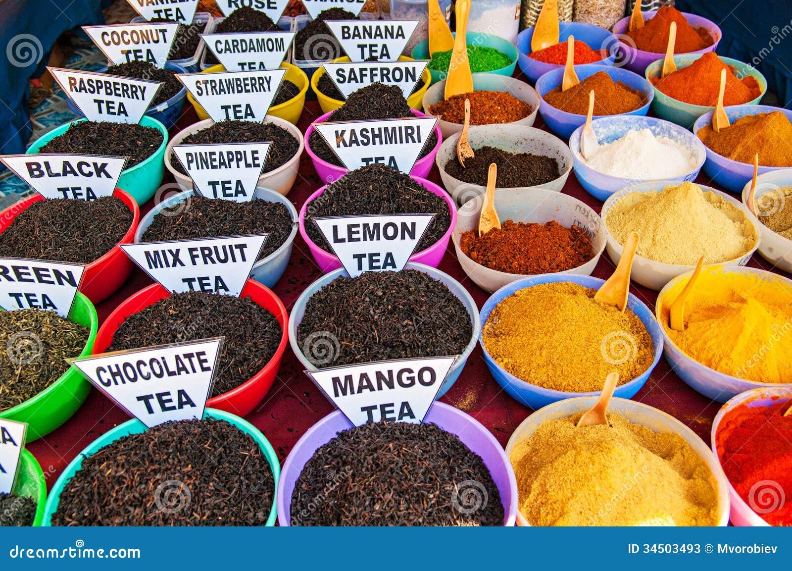 传统香料和茶市场在印度