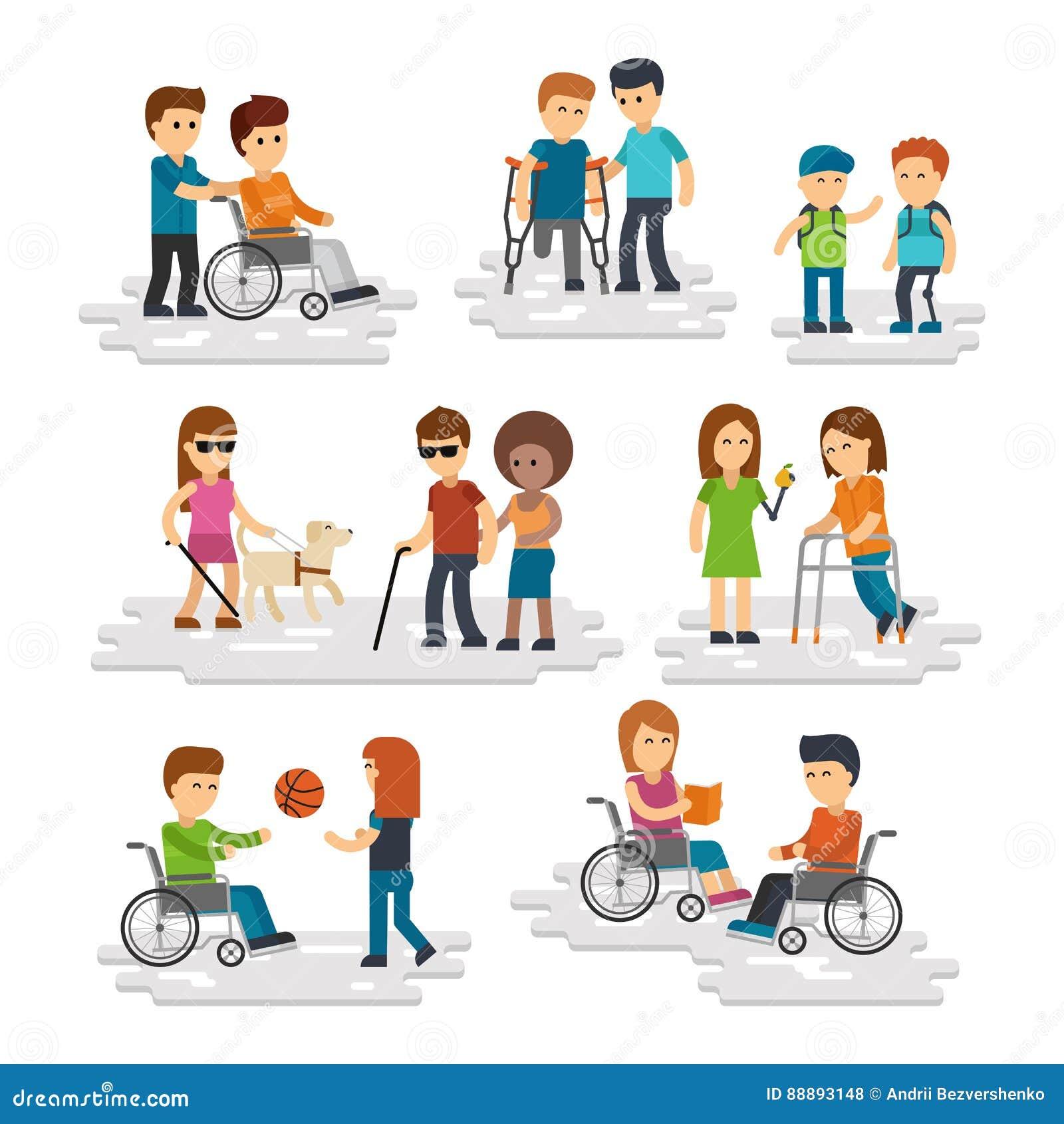 伤残平人的传染媒介 年轻帮助他们的残疾人和朋友
