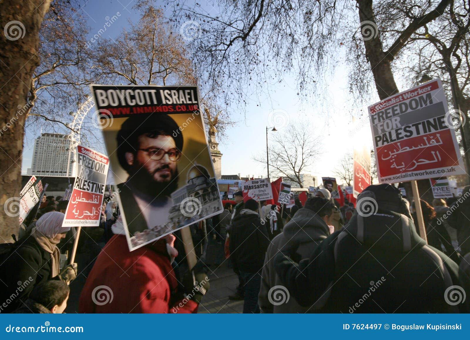 伦敦巴勒斯坦抗议者暴乱