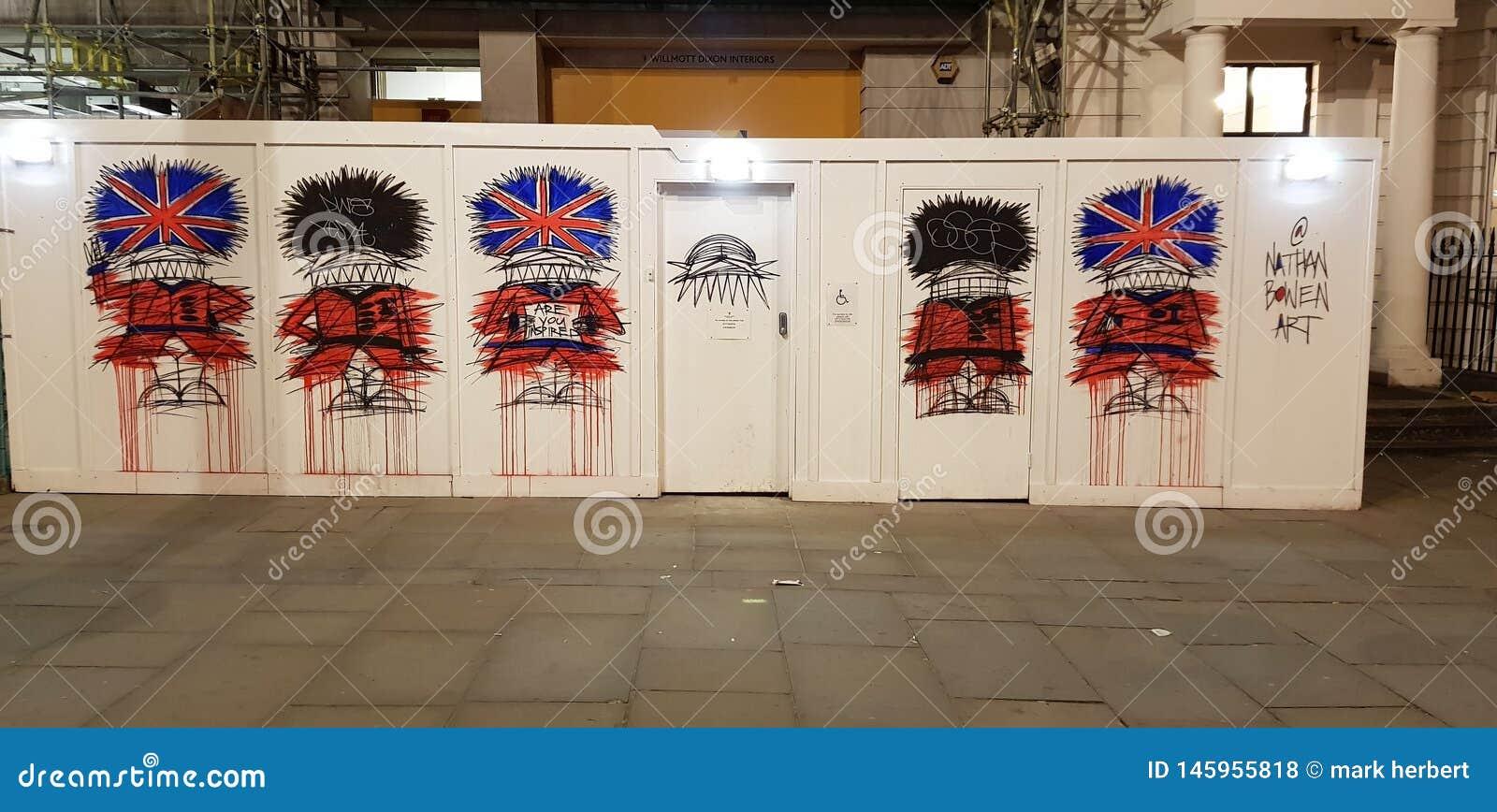 伦敦街道画英王卫士