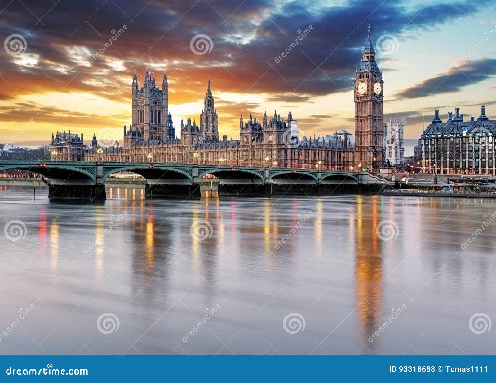 伦敦-议会,英国大笨钟和房子