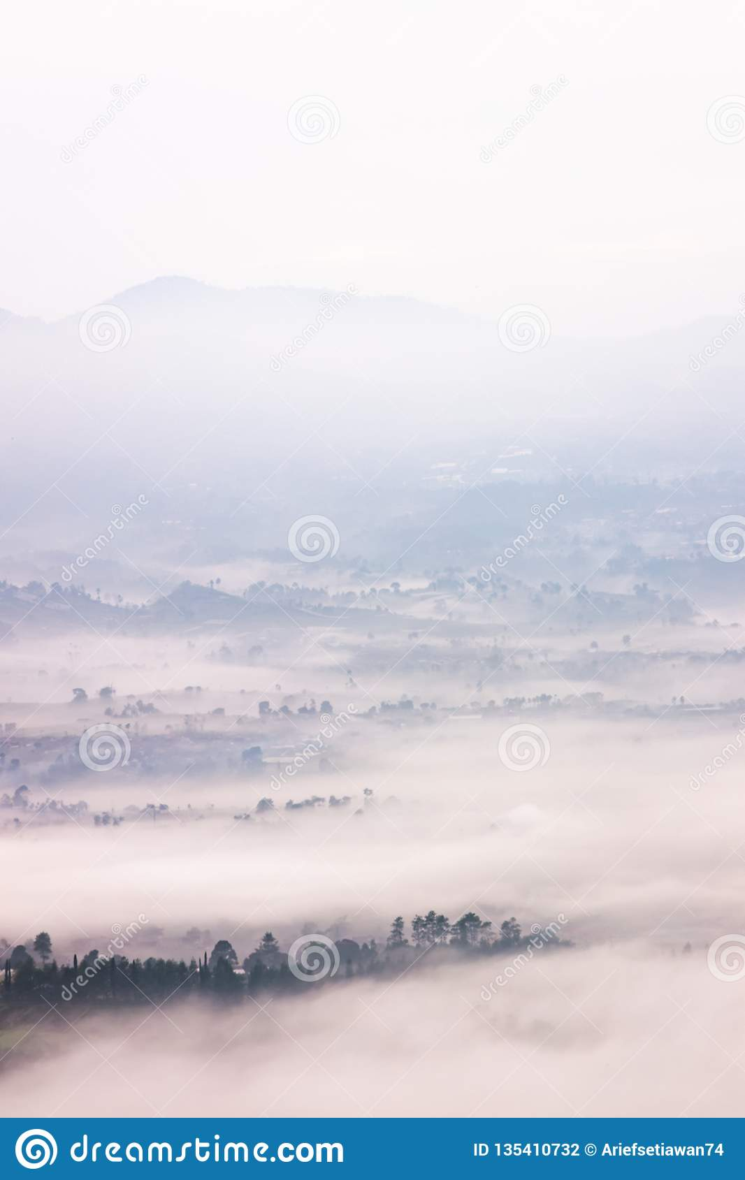 位于万隆的有雾的风景,印度尼西亚