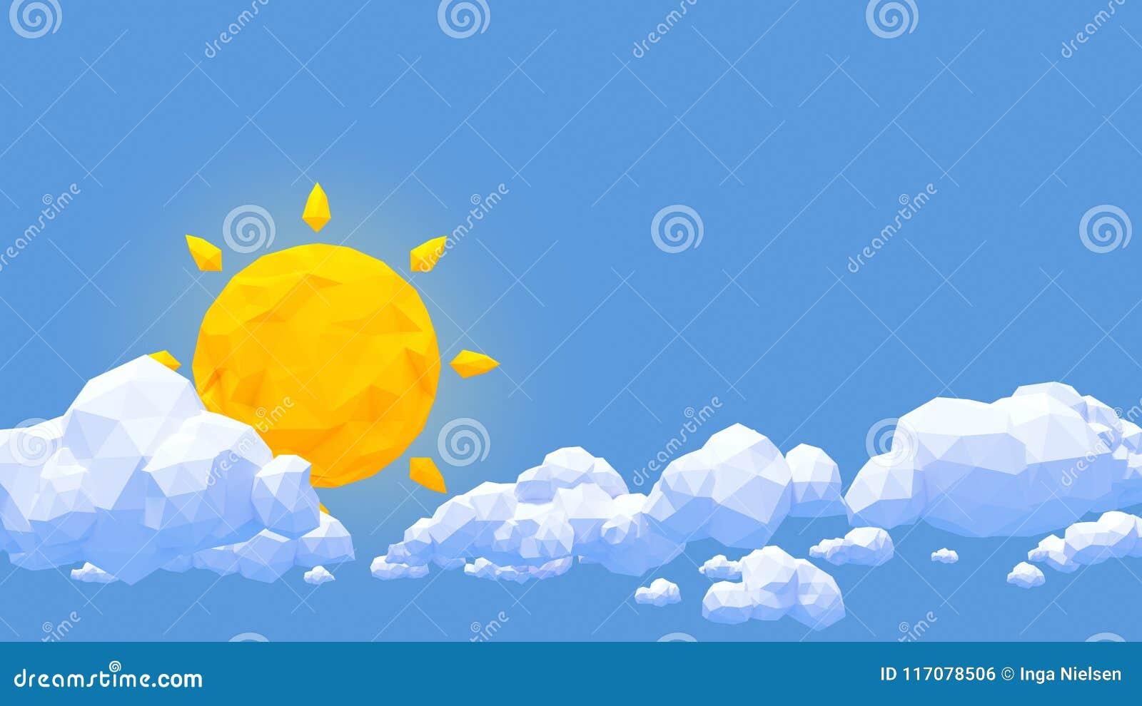 低多云彩和太阳在蓝天