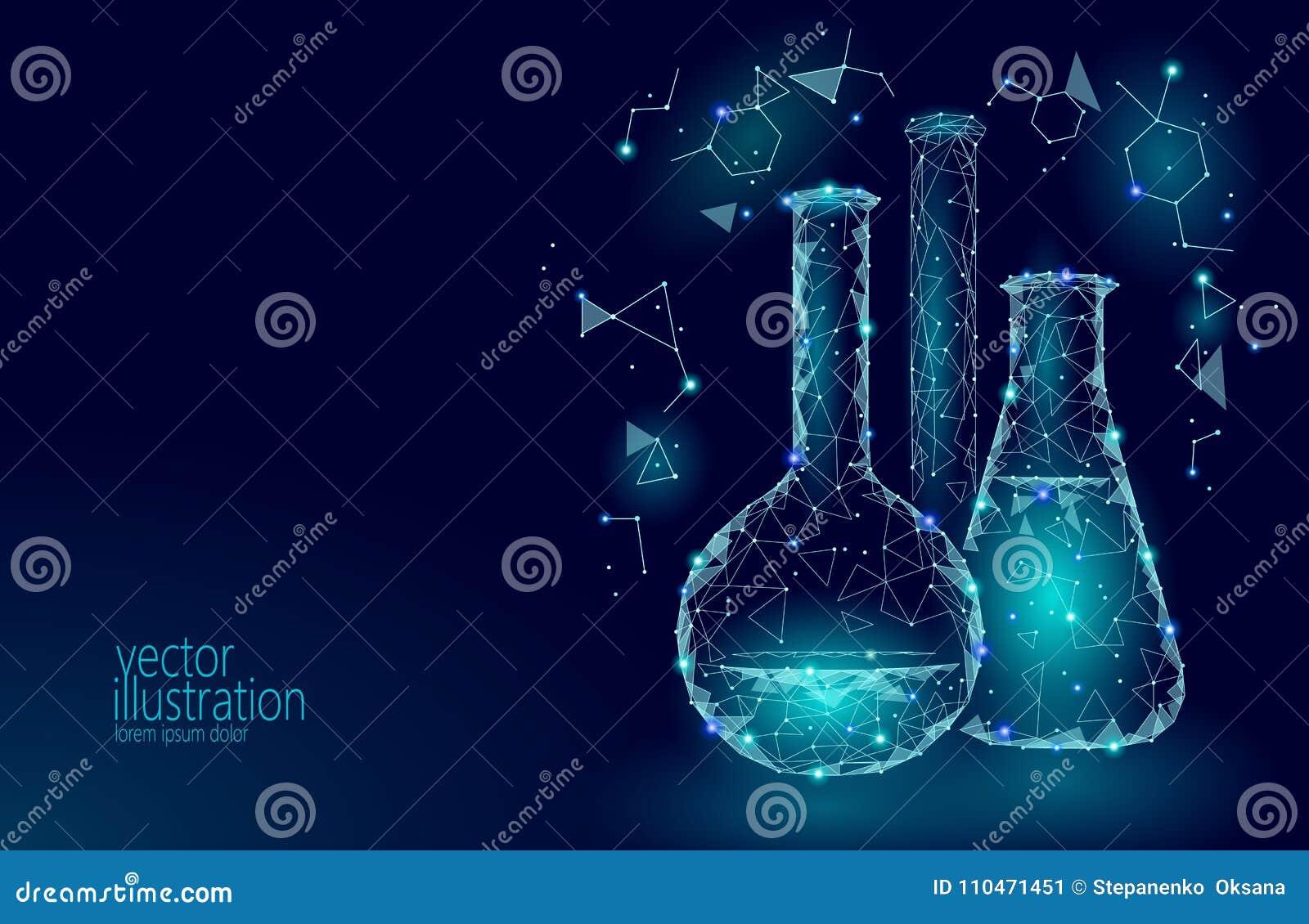 低多科学化工玻璃烧瓶 不可思议的设备多角形三角蓝色发光的研究未来技术