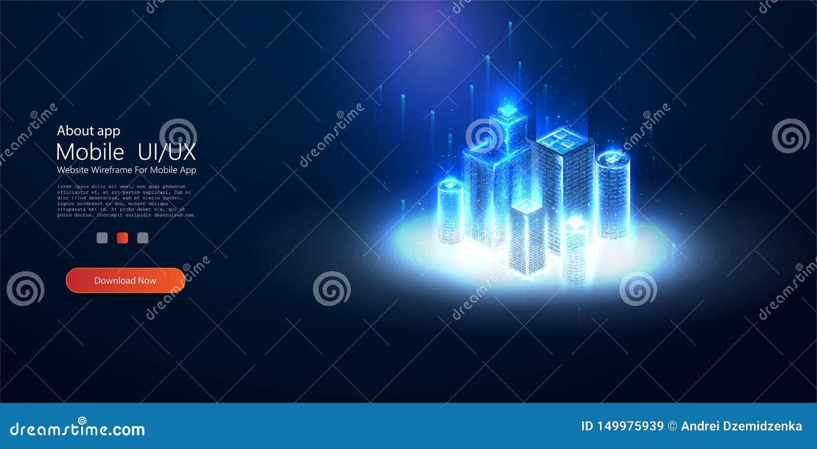 低多聪明的城市wireframe 闪闪发光stardust