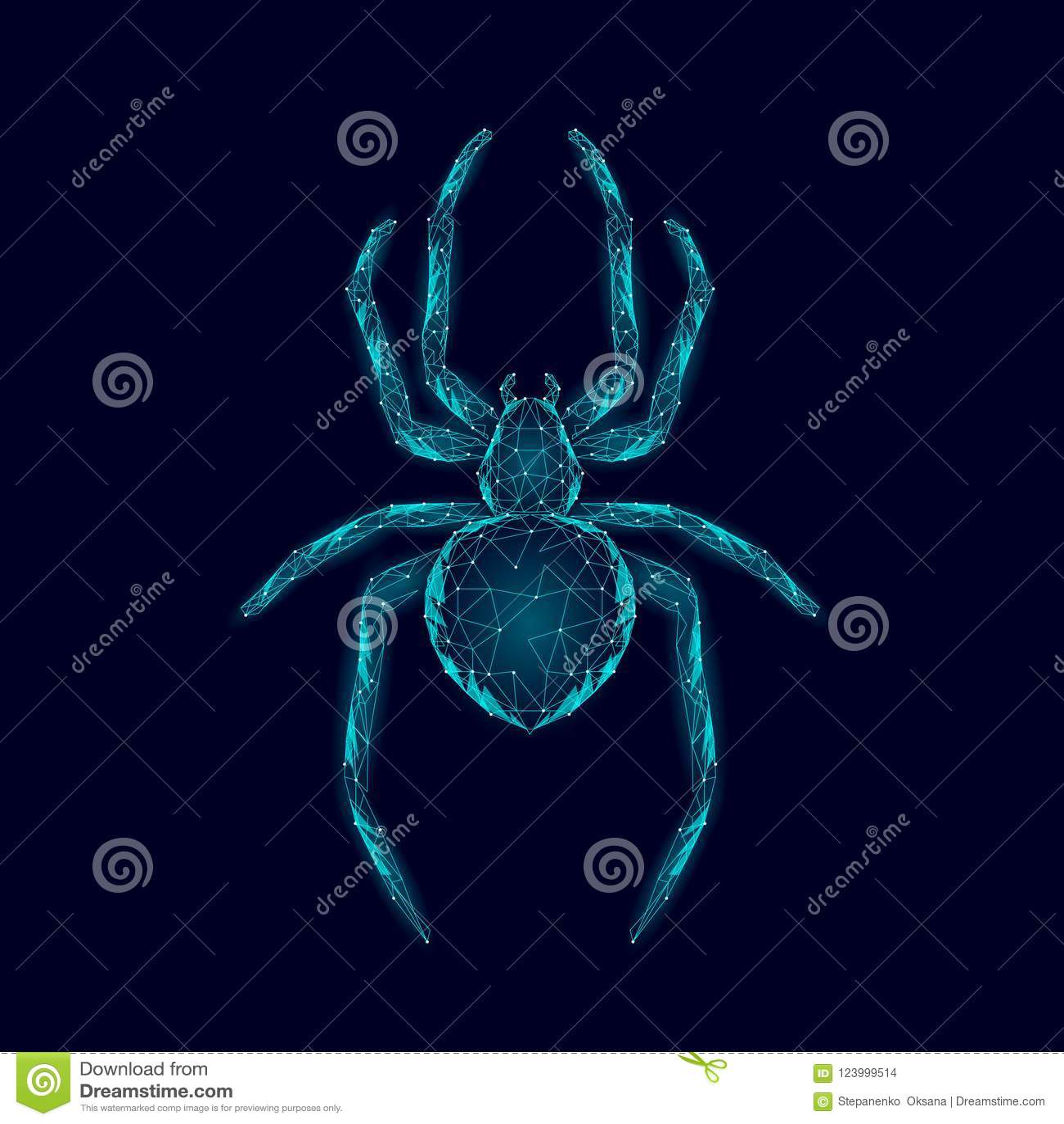 低多蜘蛛危险蜘蛛纲的动物 网安全病毒数据安全抗病毒概念 多角形现代蓝色发光