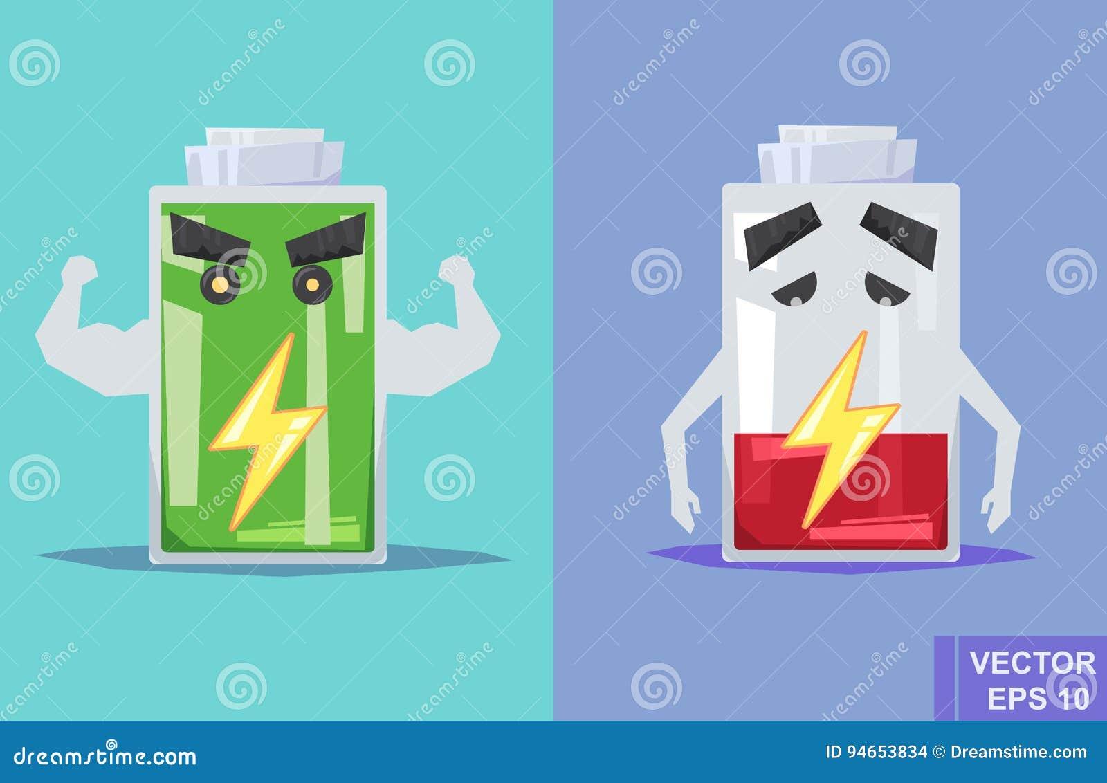 低电池和充分 传染媒介平的例证 动画片图象