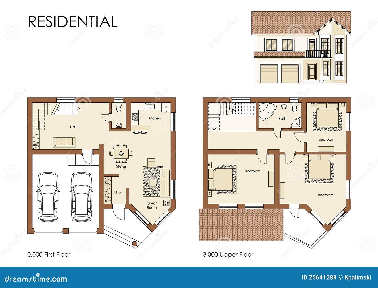 Open Floor Plan House Plans 住宅房子的计划 免版税库存照片 图片 25641288