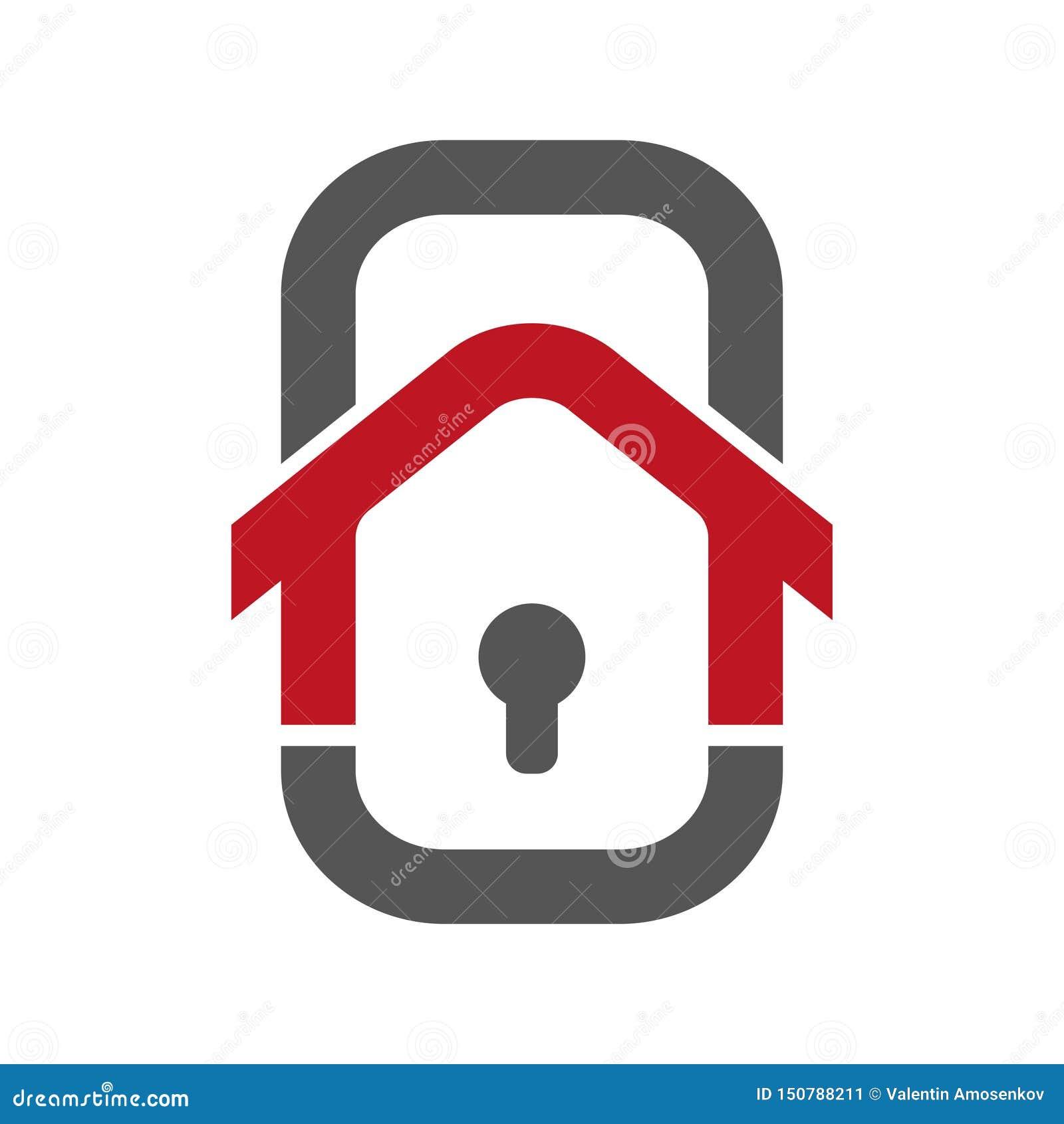 住家安全商标模板 聪明的住家安全的概念 房子控制使用智能手机的 生动描述以的形式