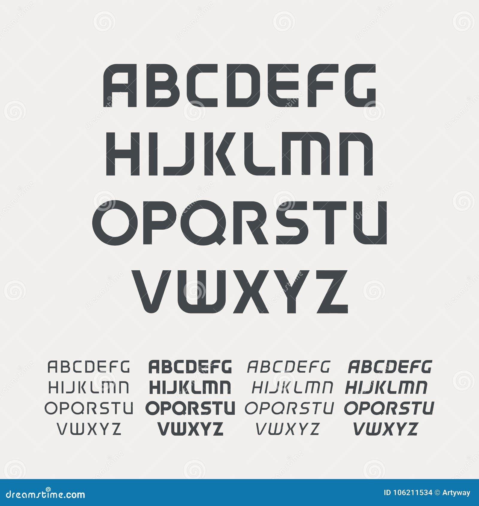 体育大写字母表 未来派技术字体 现代组合图案模板 Minimalistic传染媒介设计字体