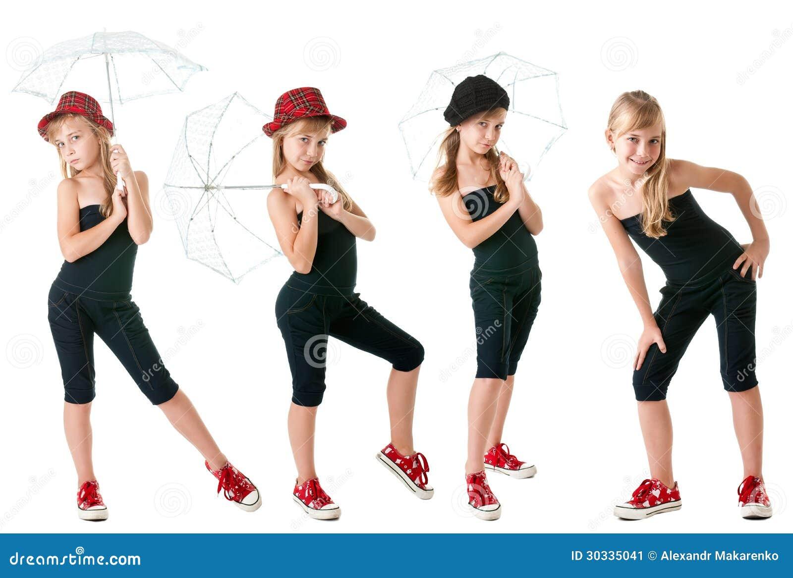 体育样式衣裳的青少年的女孩,在全视图。