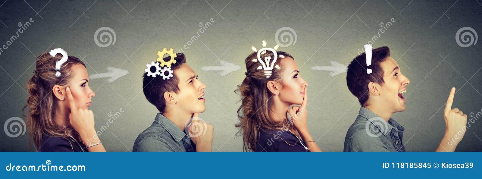 体贴的认为男人和的妇女一起解决一个共同的问题
