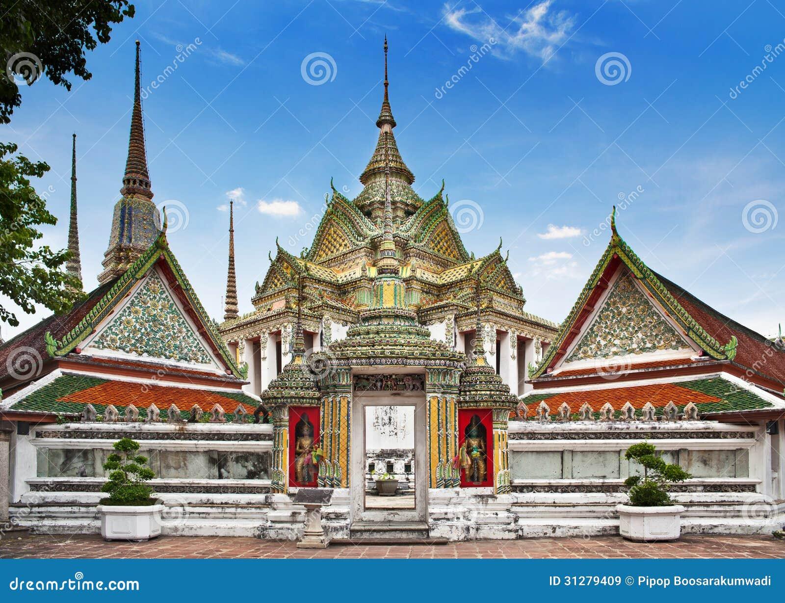 佛教寺庙, Wat Pho寺庙在曼谷、地标和没有1旅游胜地在泰国。