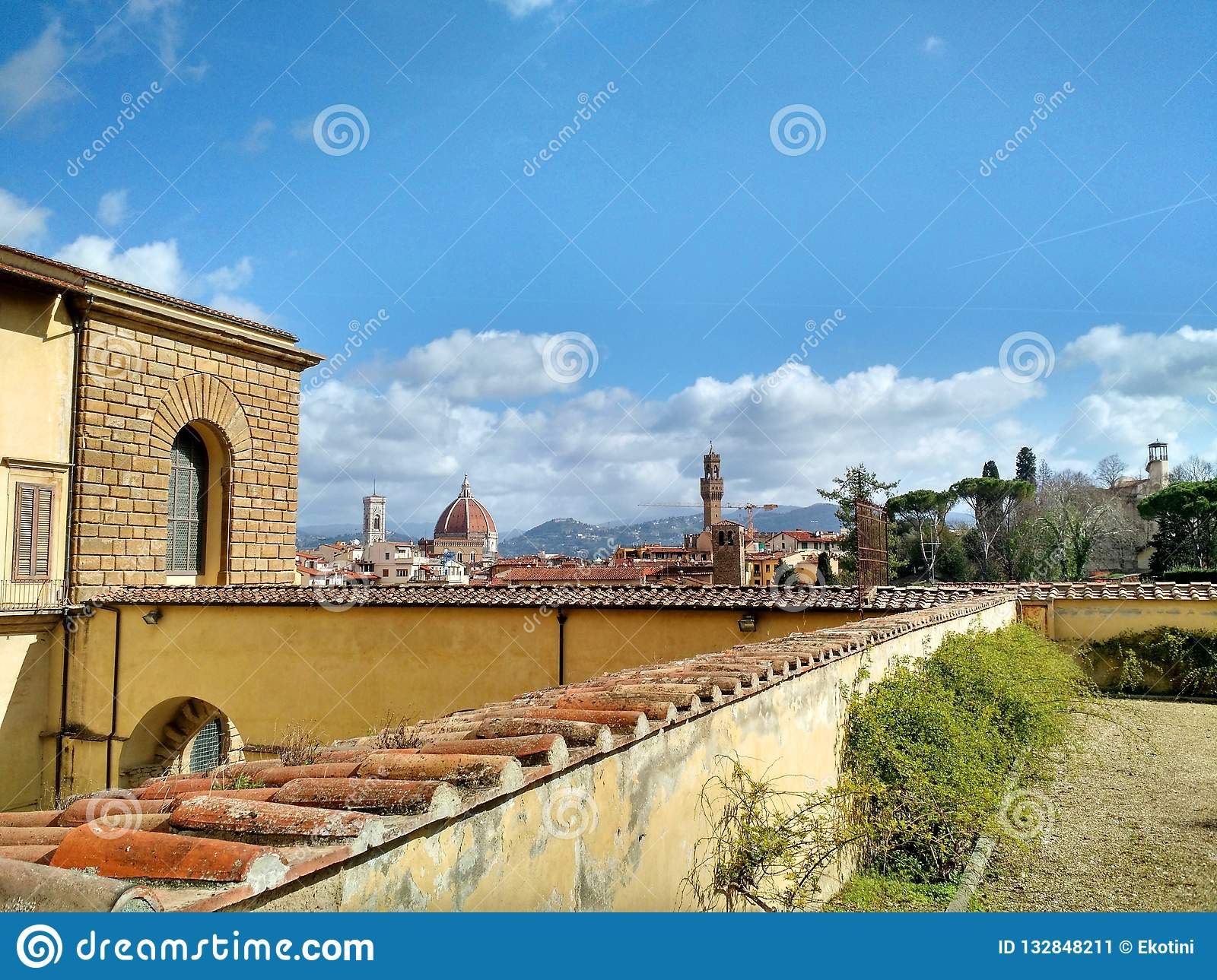 佛罗伦萨Iew从波波里庭院的,和中央寺院和旧宫可看见在背景中