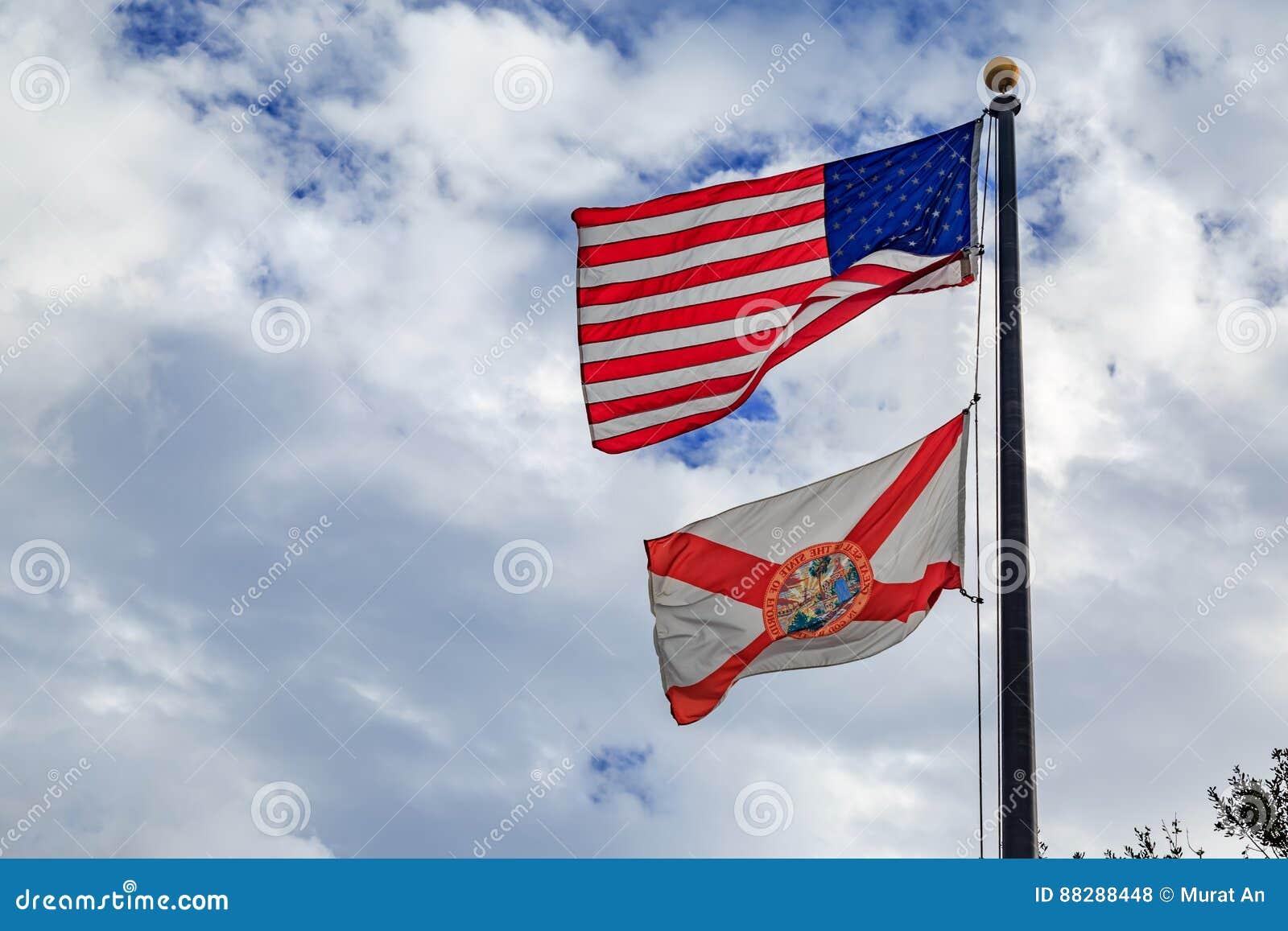 佛罗里达与美国国旗的状态旗子